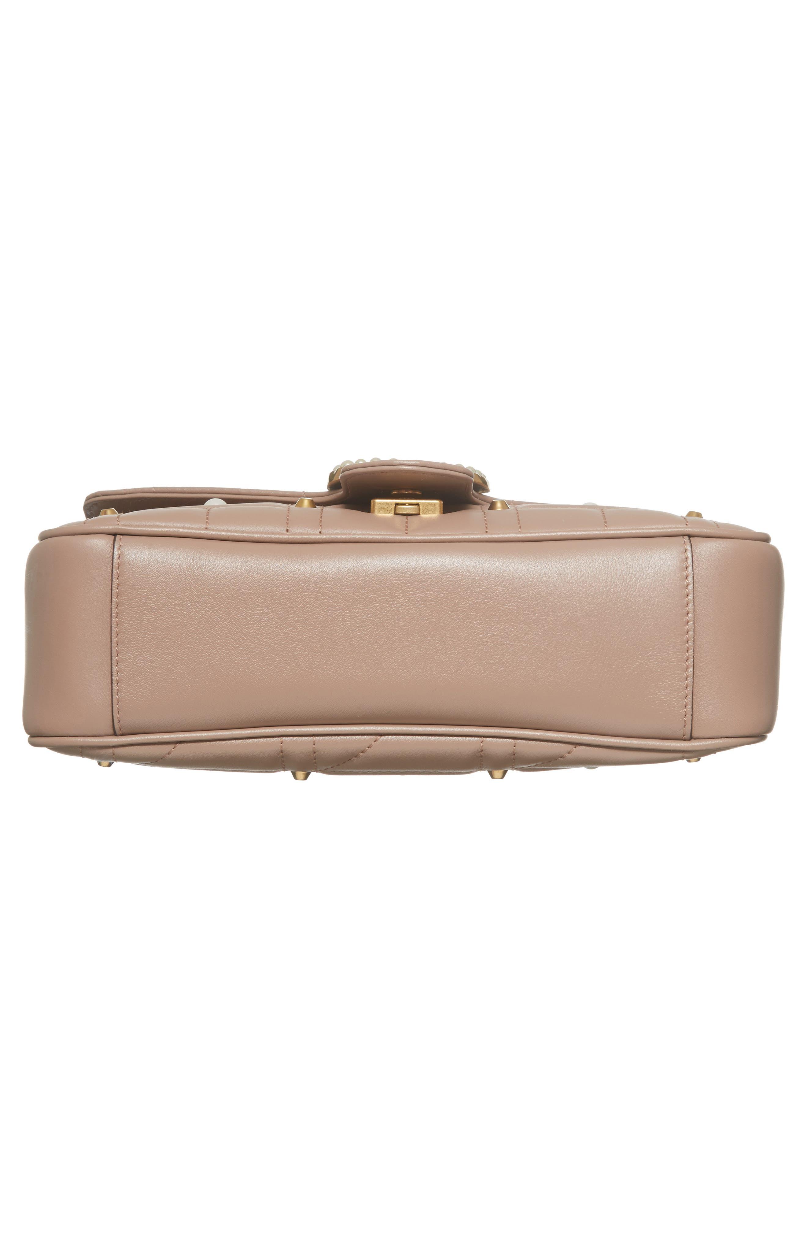 GG Marmont Matelassé Imitation Pearl Leather Shoulder Bag,                             Alternate thumbnail 5, color,                             White/ Pink