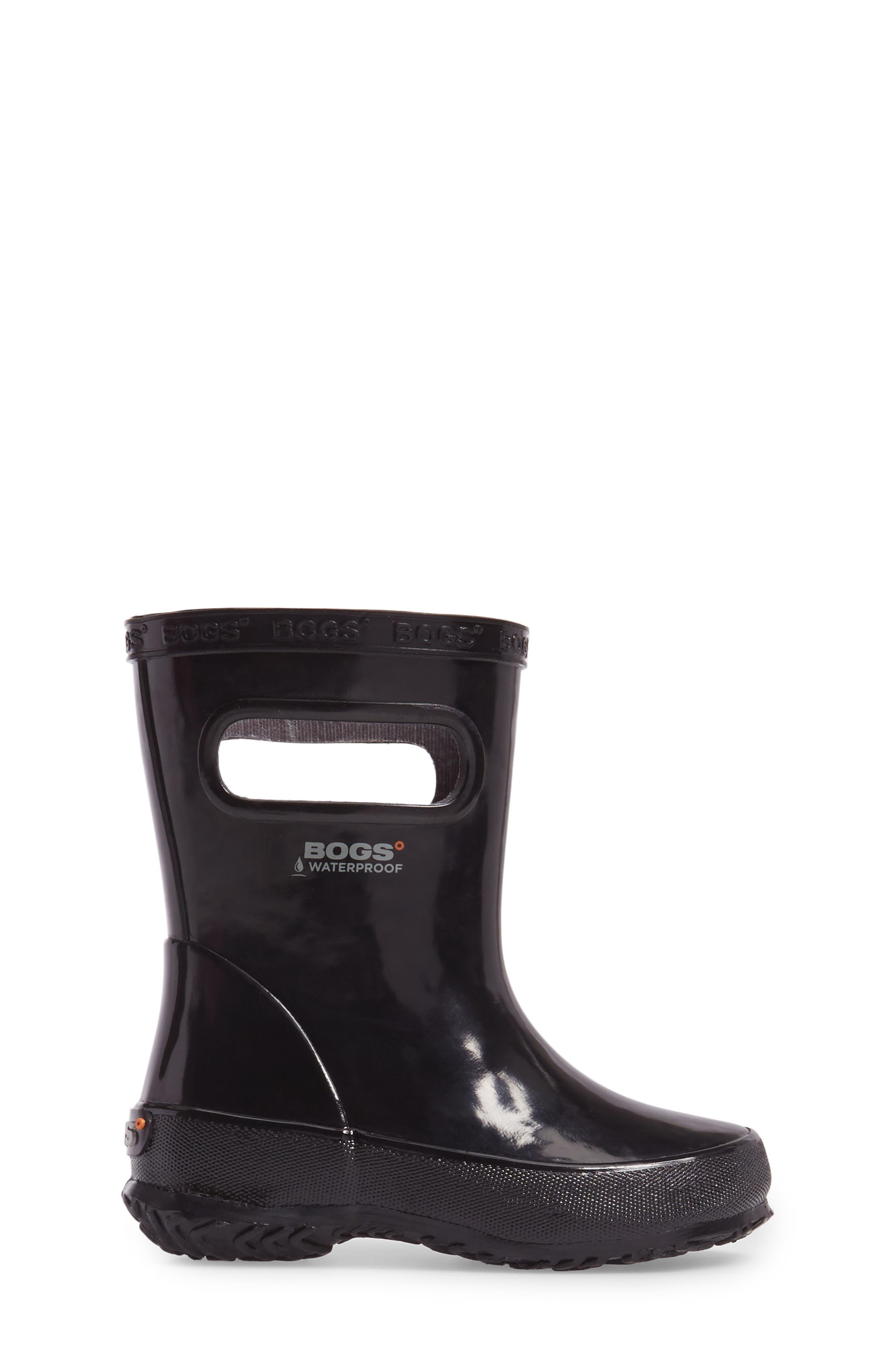 Skipper Rubber Rain Boot,                             Alternate thumbnail 3, color,                             Black