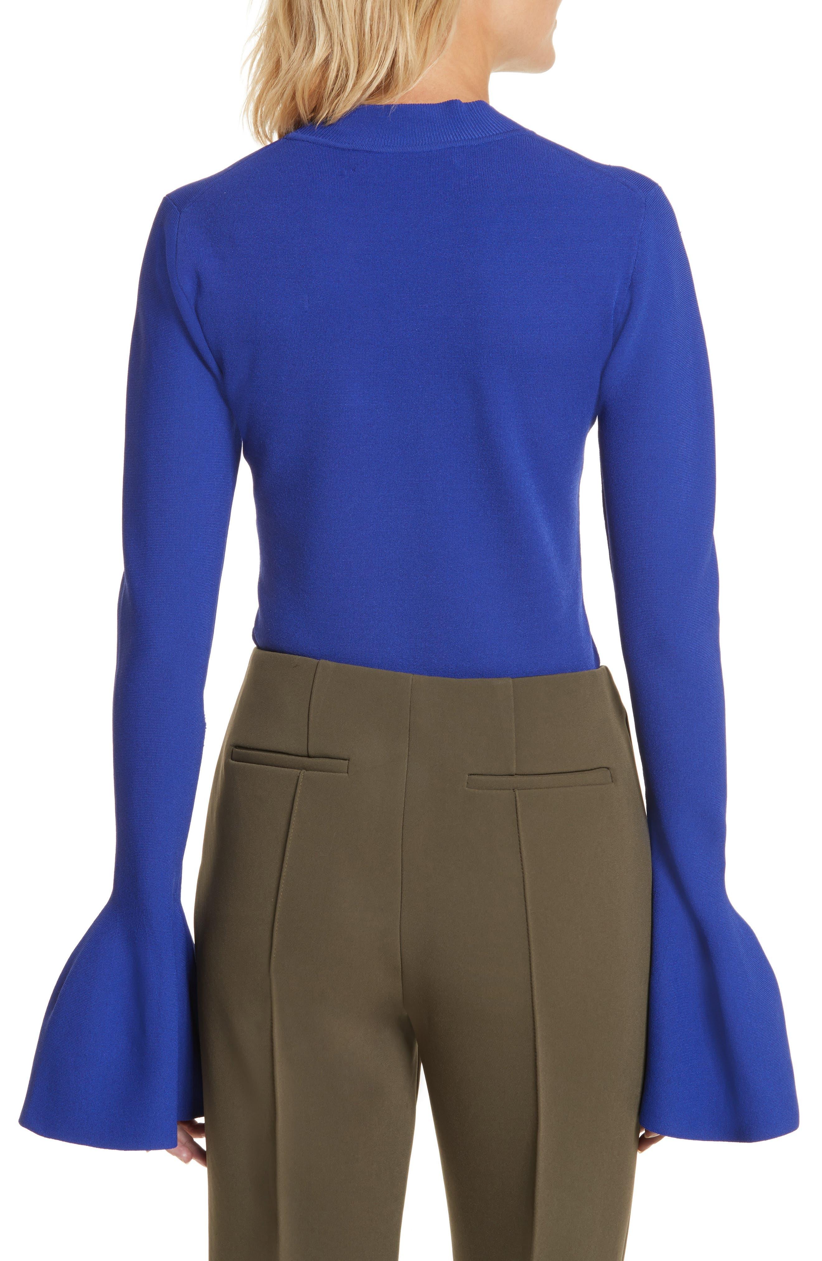 Flutter Sleeve Mock Neck Sweater,                             Alternate thumbnail 2, color,                             Electric Blue