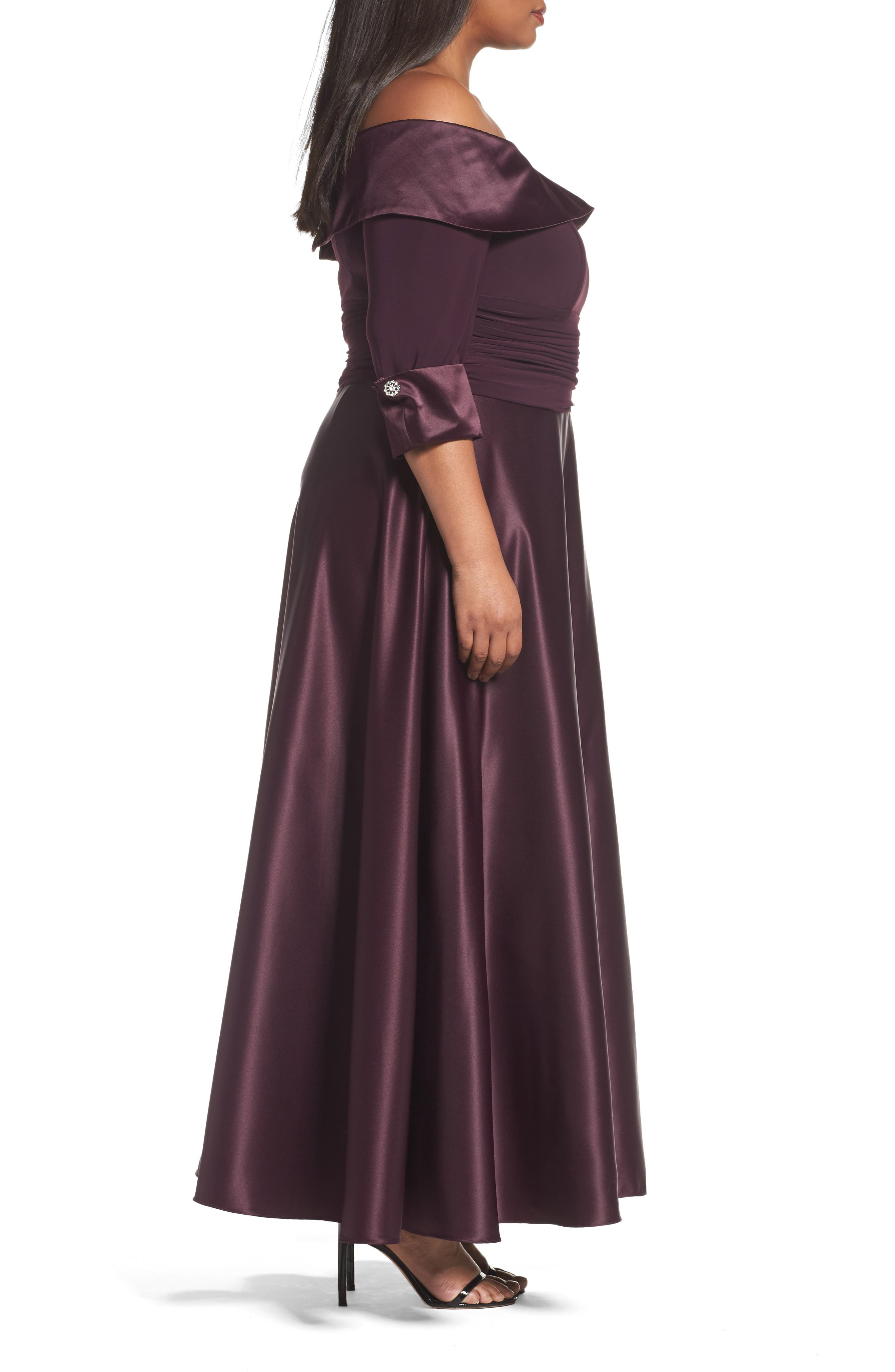Off the Shoulder Mixed Media Gown,                             Alternate thumbnail 3, color,                             Plum