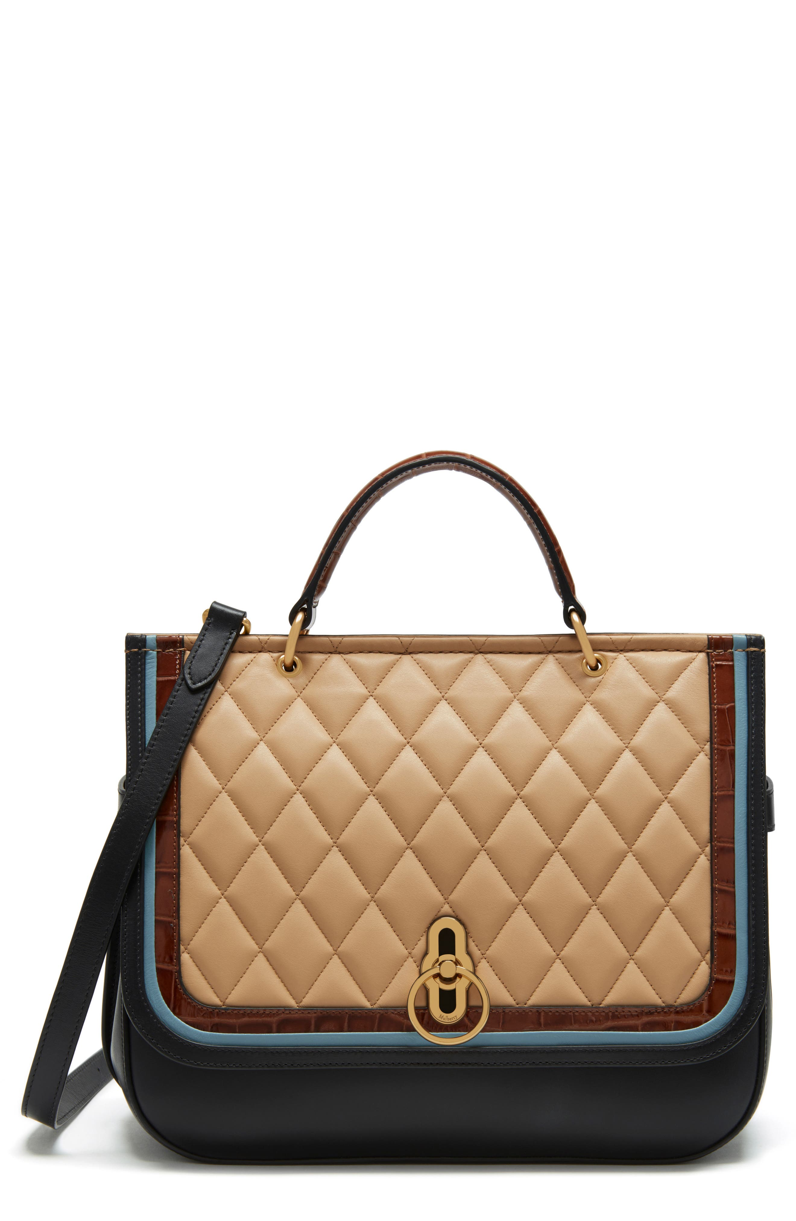 Amberley Quilted Calfskin Leather Satchel,                         Main,                         color, Black/ Tan/ Multi