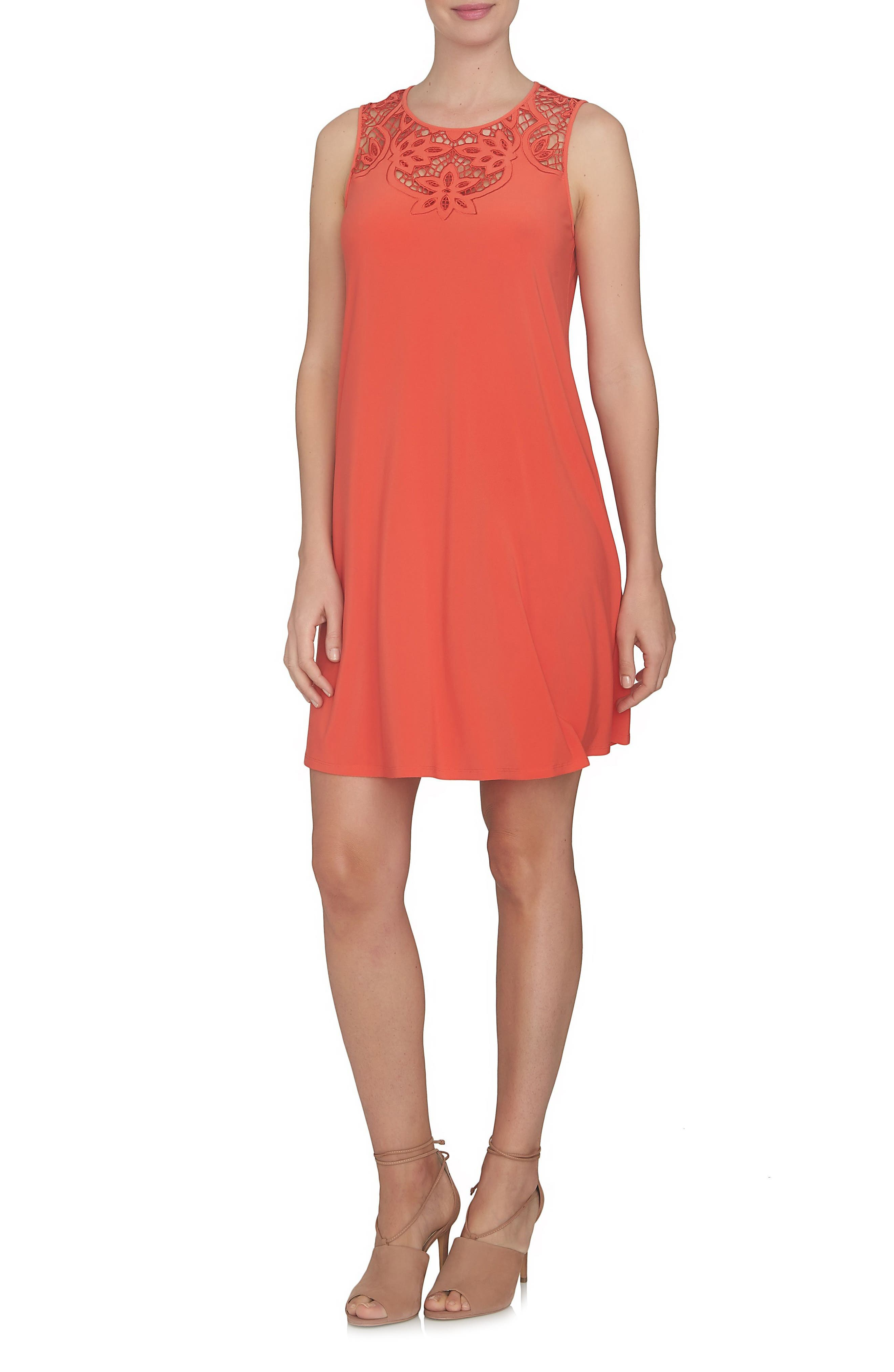 Cutout Yoke A-Line Shift Dress,                         Main,                         color, Sour Cherry