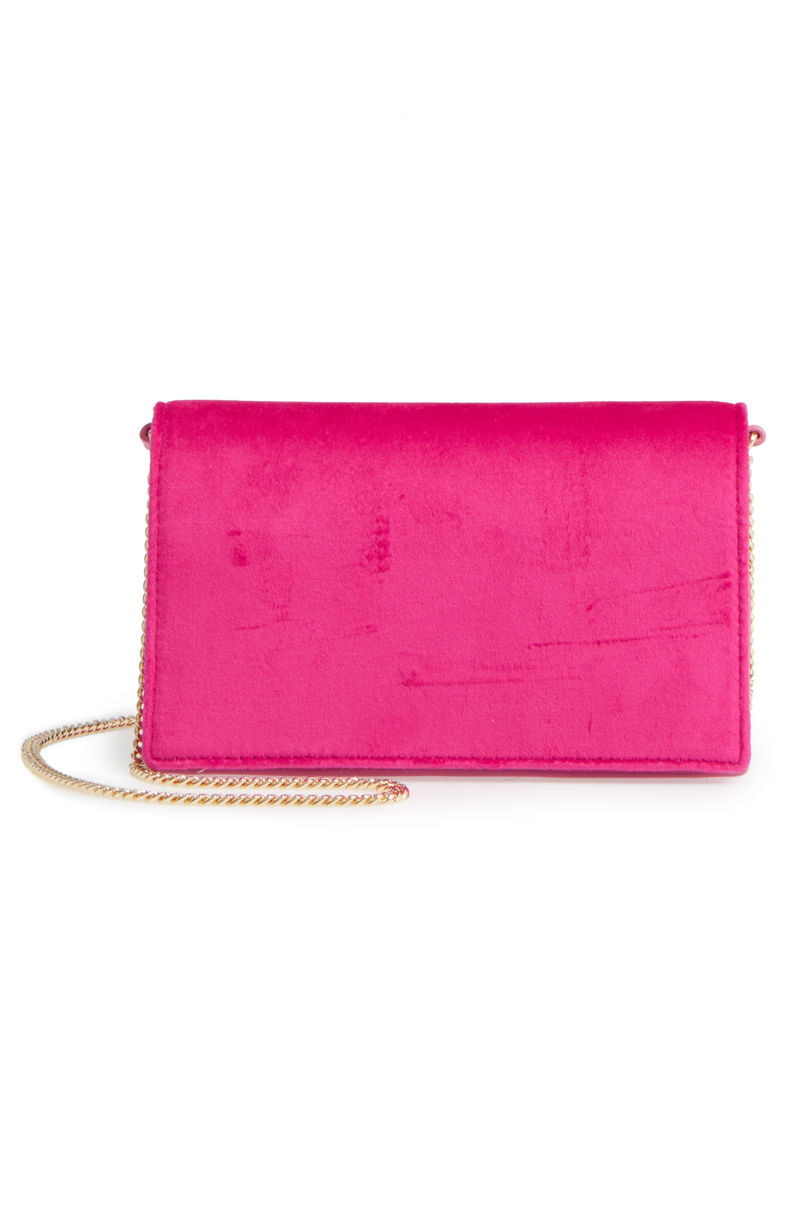 Soirée Velvet Convertible Crossbody Bag,                             Alternate thumbnail 6, color,                             Pink Azalea