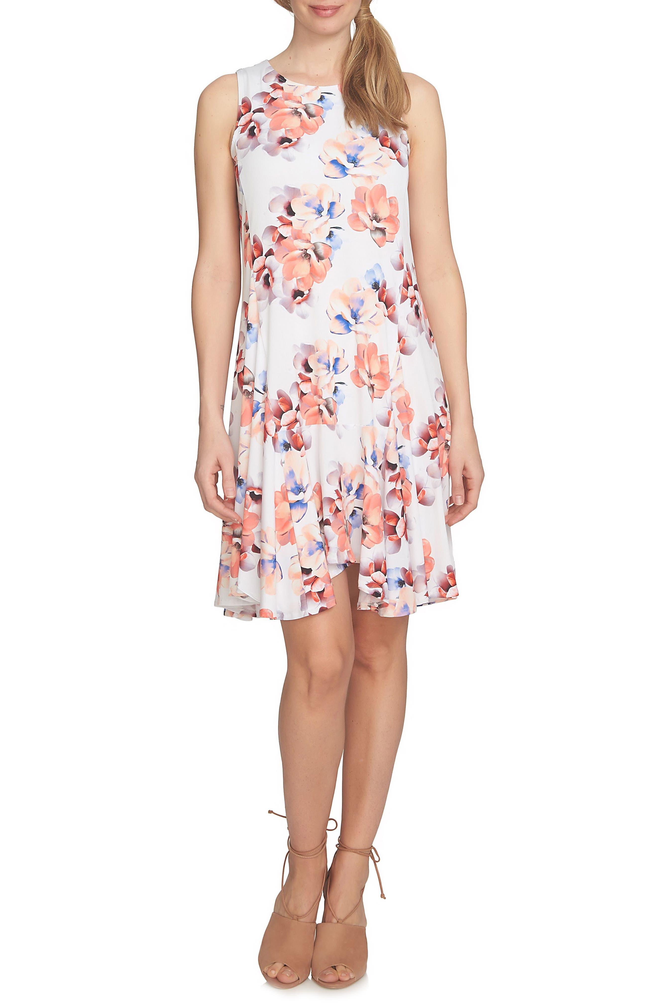 CeCe Floral Knit Handkerchief Hem Dress