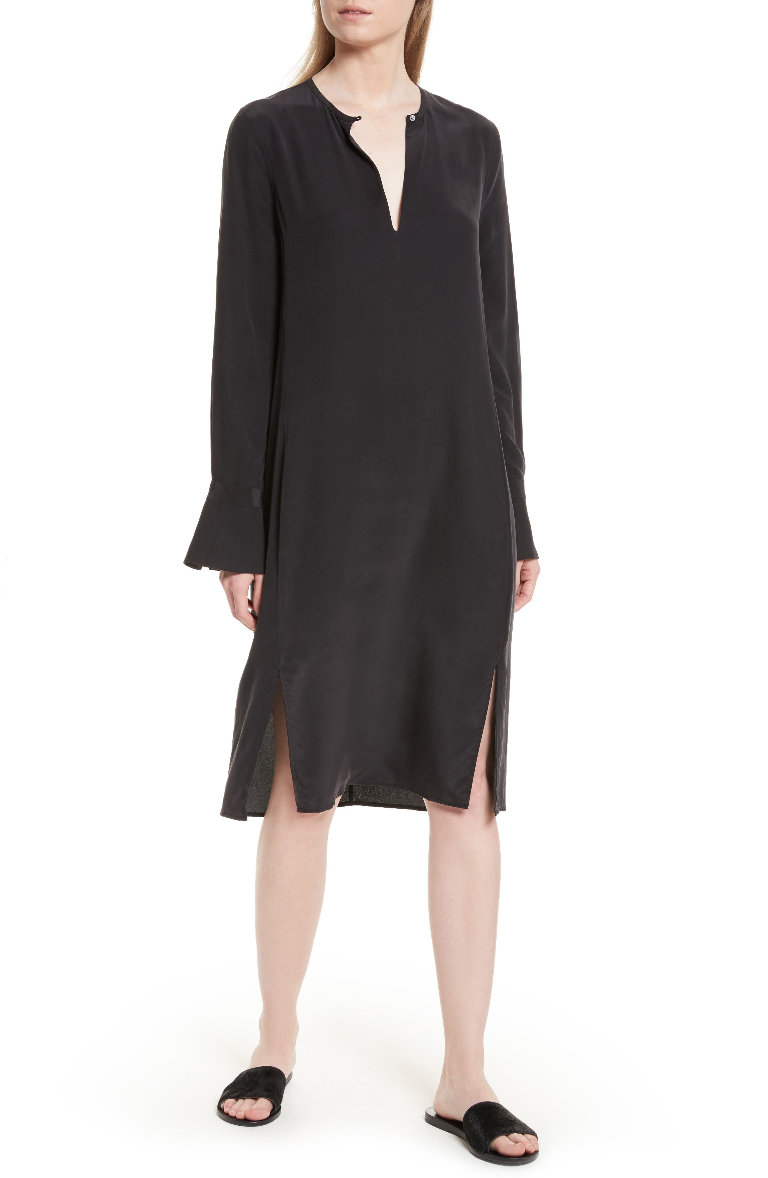 Granger Silk Dress,                         Main,                         color, True Black