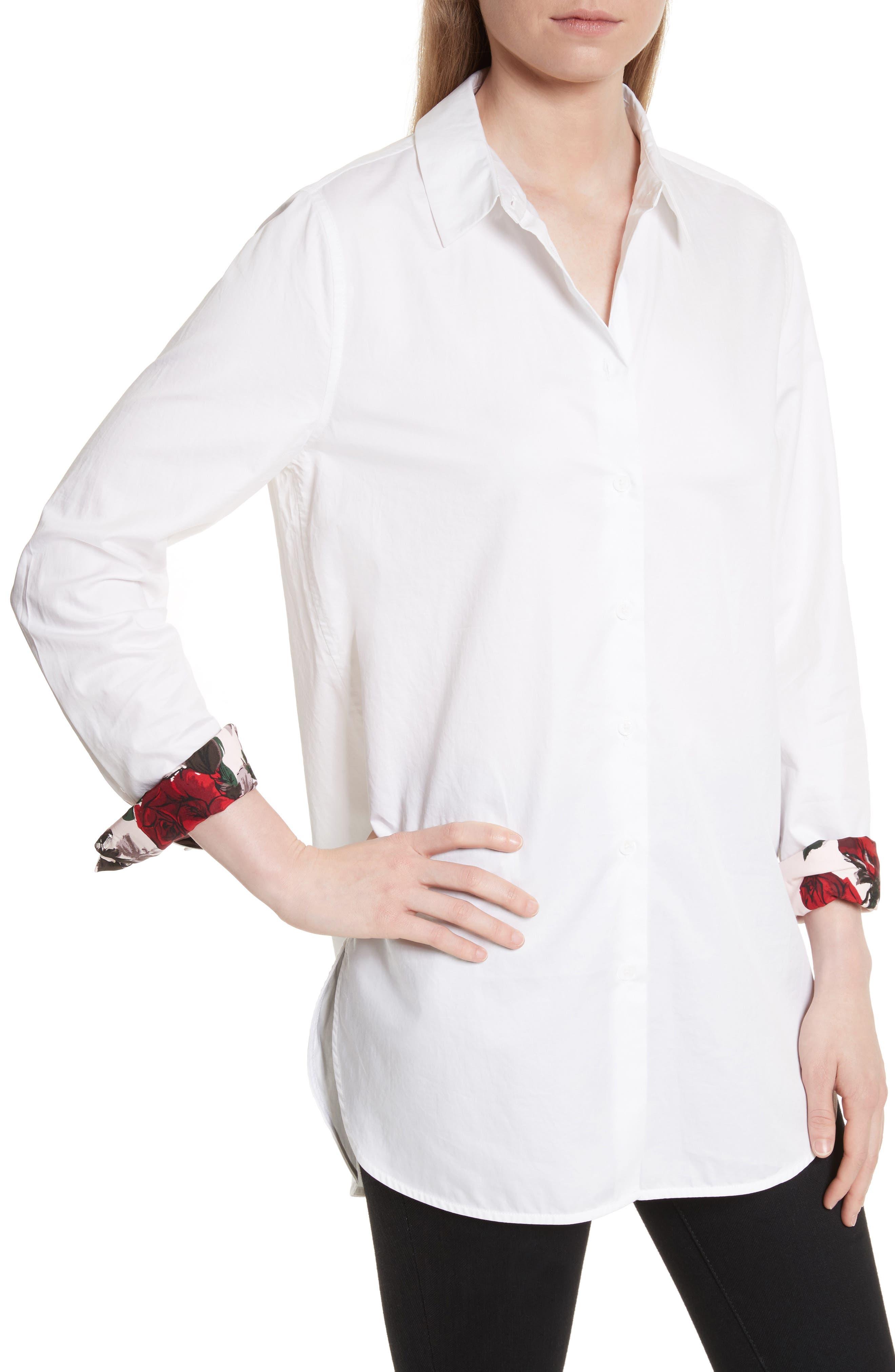 Arlette Cotton Shirt,                             Alternate thumbnail 4, color,                             Bright White
