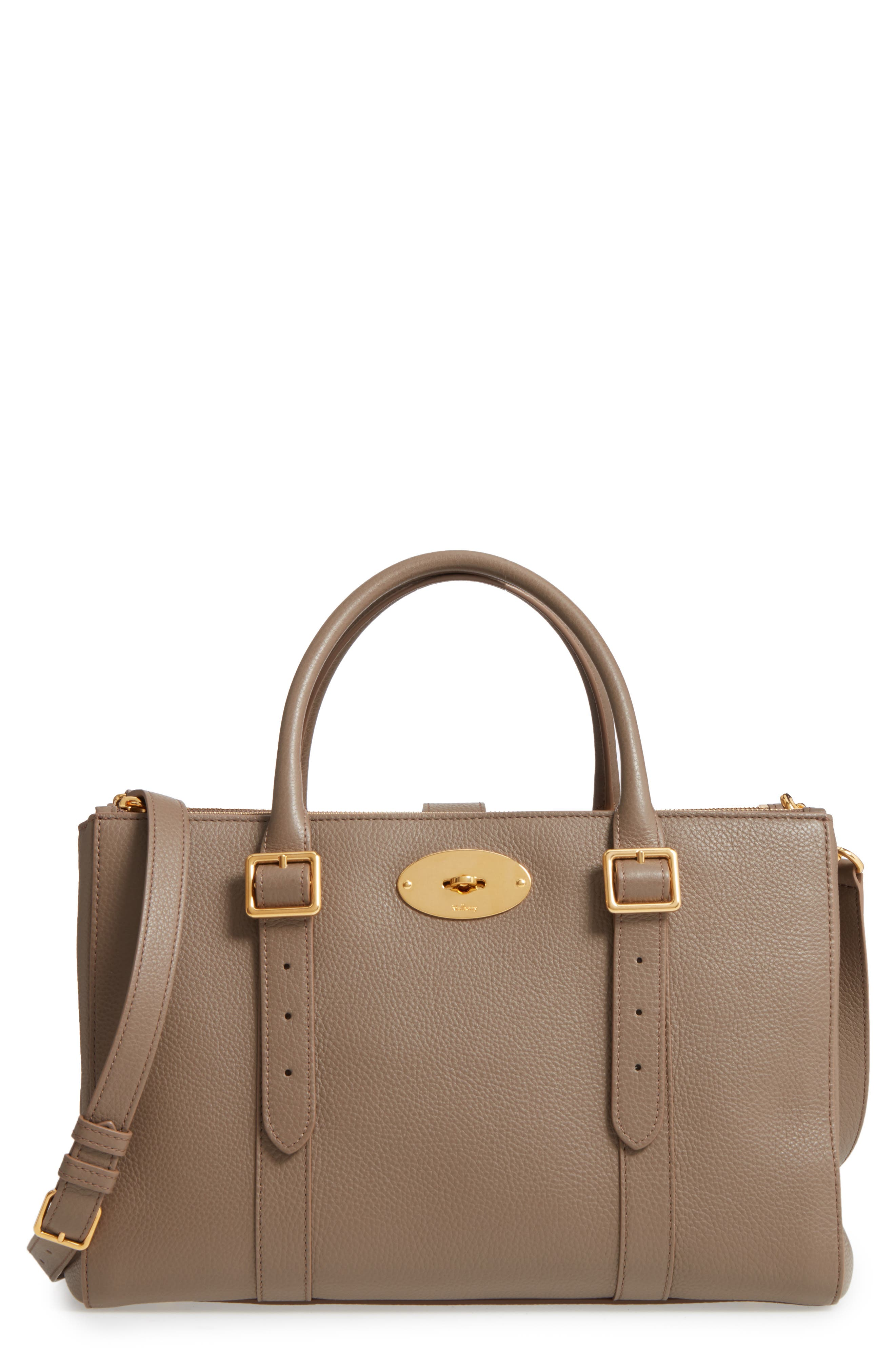 Bayswater Double Zip Leather Satchel,                         Main,                         color, Clay