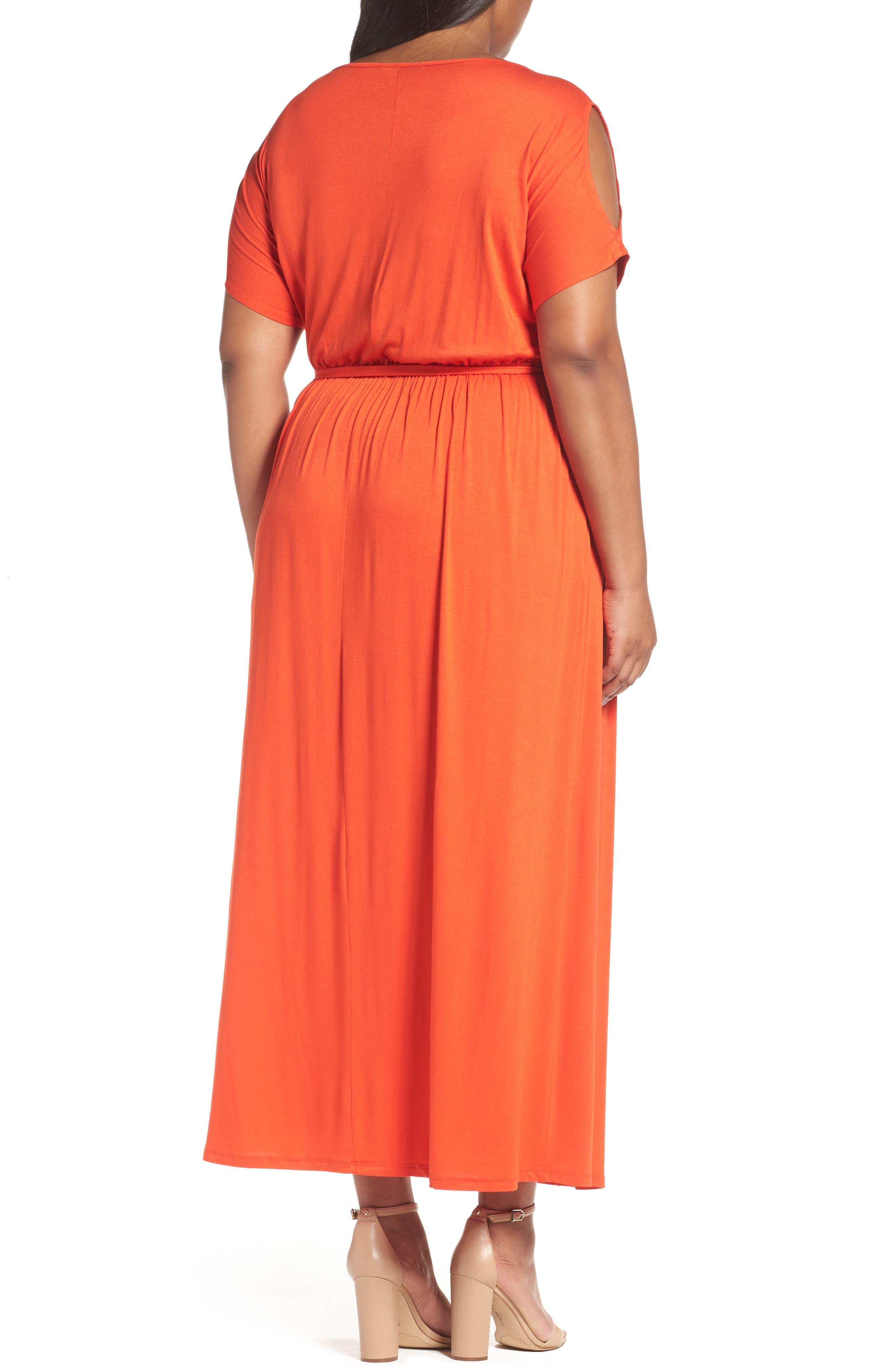 Alternate Image 2  - Dorothy Perkins Jersey Cold Shoulder Maxi Dress (Plus Size)