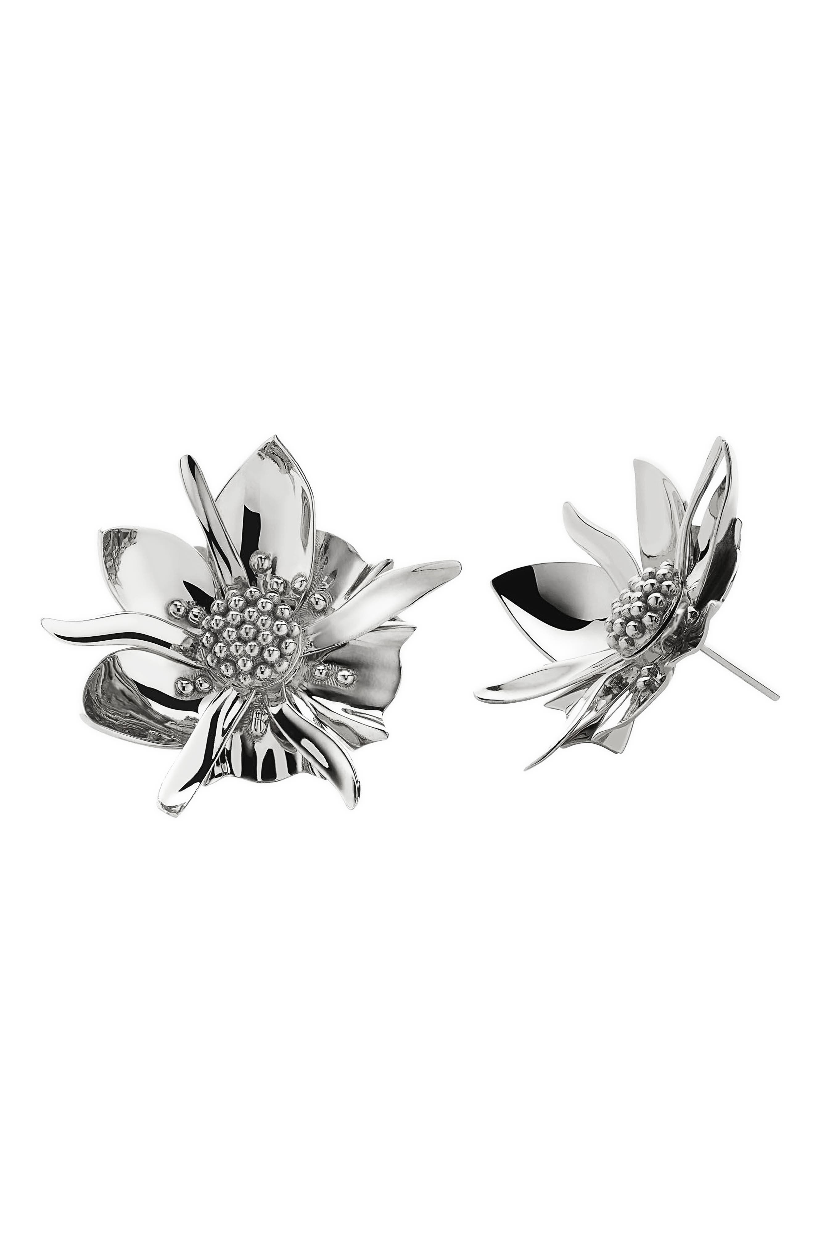 Large Wildflower Stud Earrings,                             Main thumbnail 1, color,                             Sterling Silver