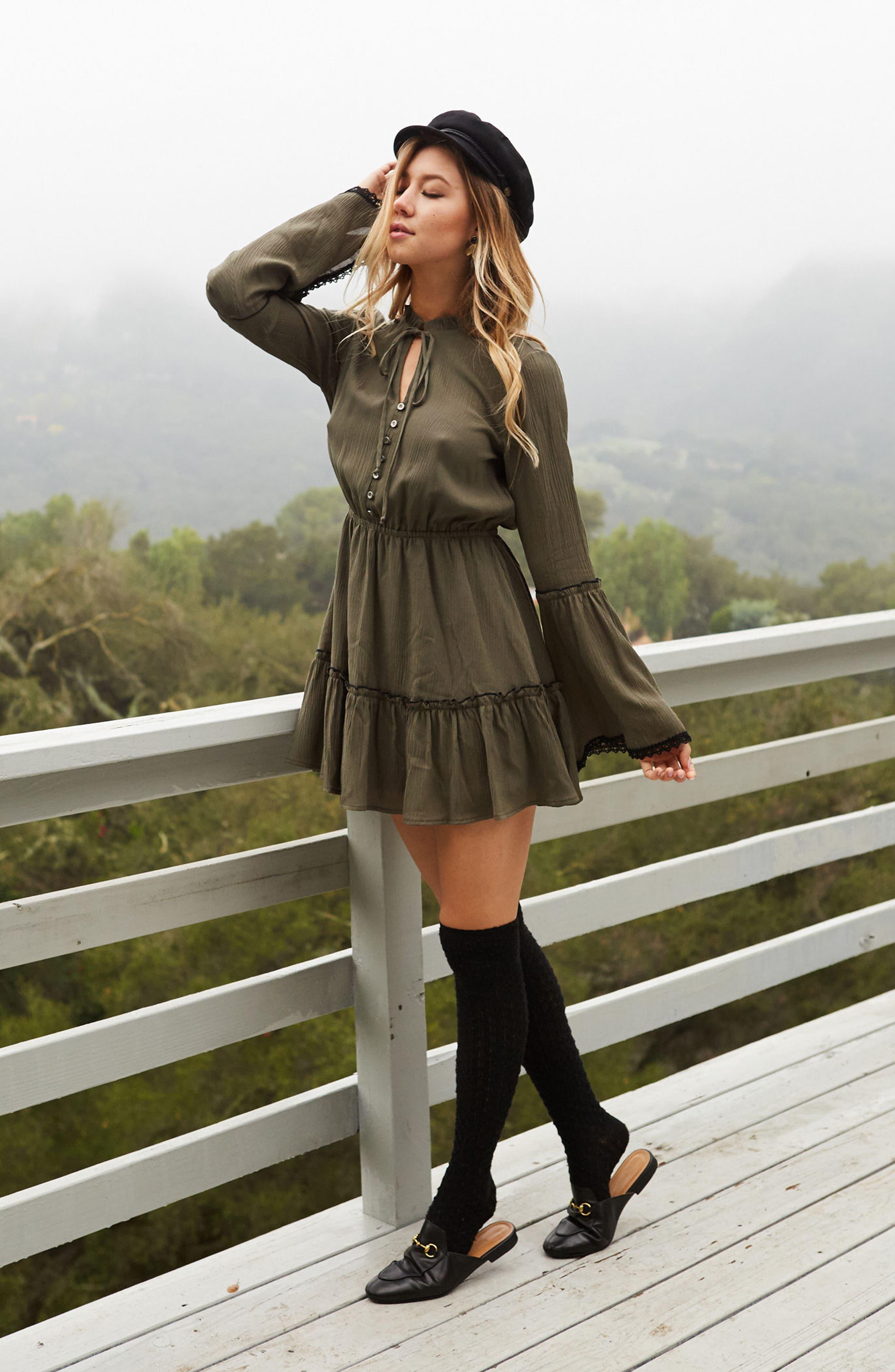 Olivia Bell Sleeve Dress,                             Alternate thumbnail 6, color,                             Olive