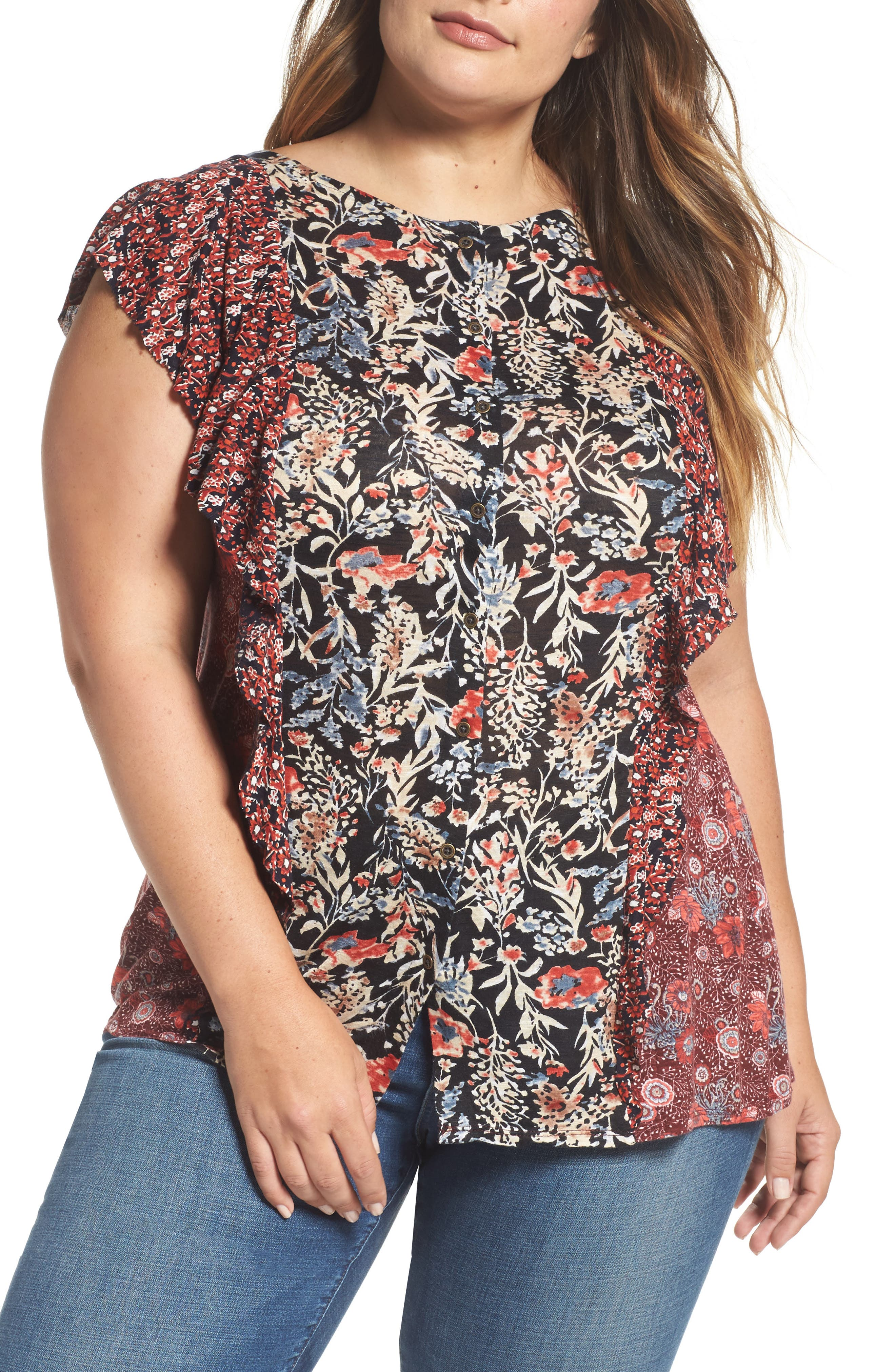 Alternate Image 1 Selected - Lucky Brand Mixed Print Ruffle Top (Plus Size)