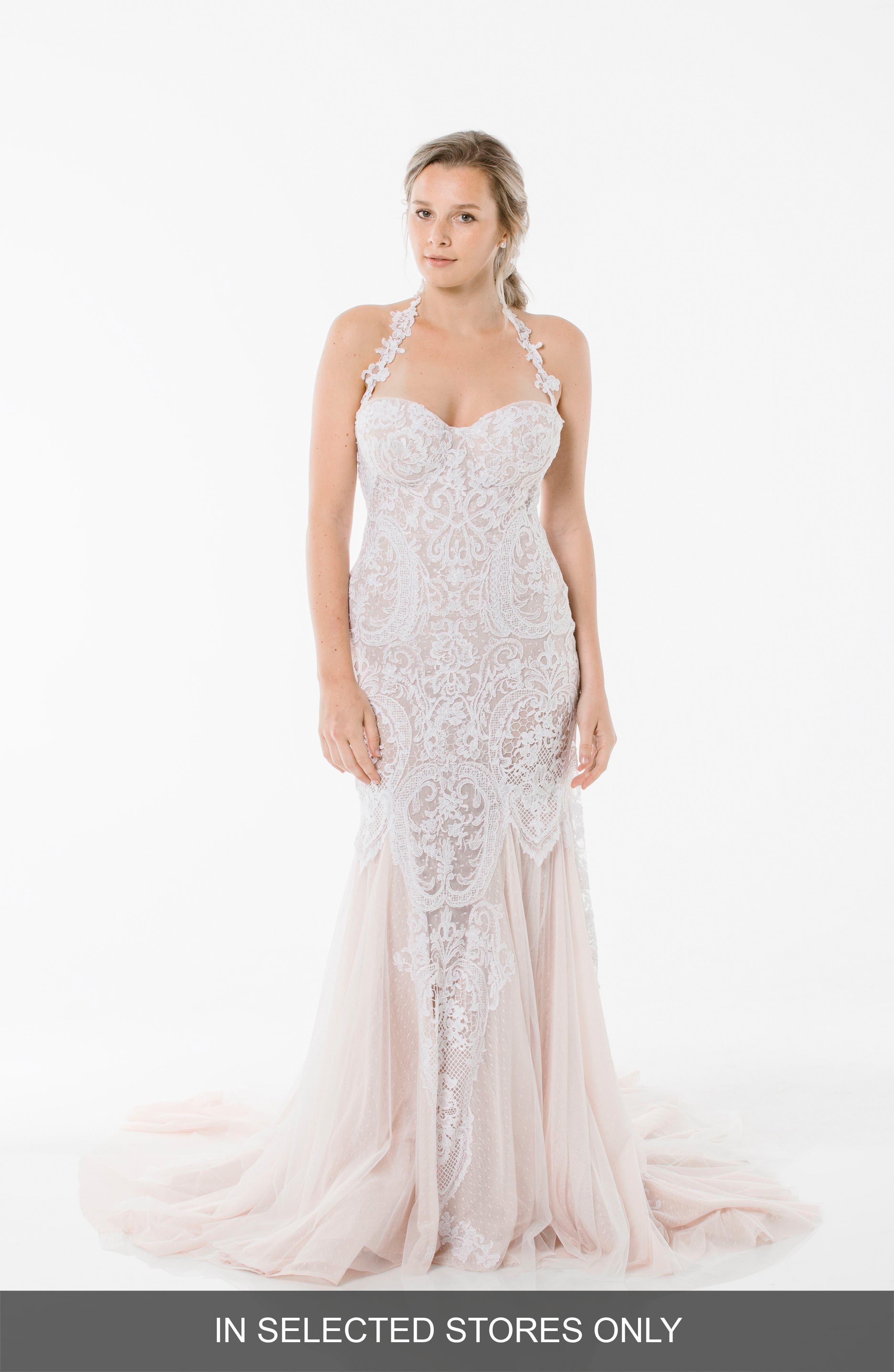 Lena Lace Halter Gown,                         Main,                         color, Blush