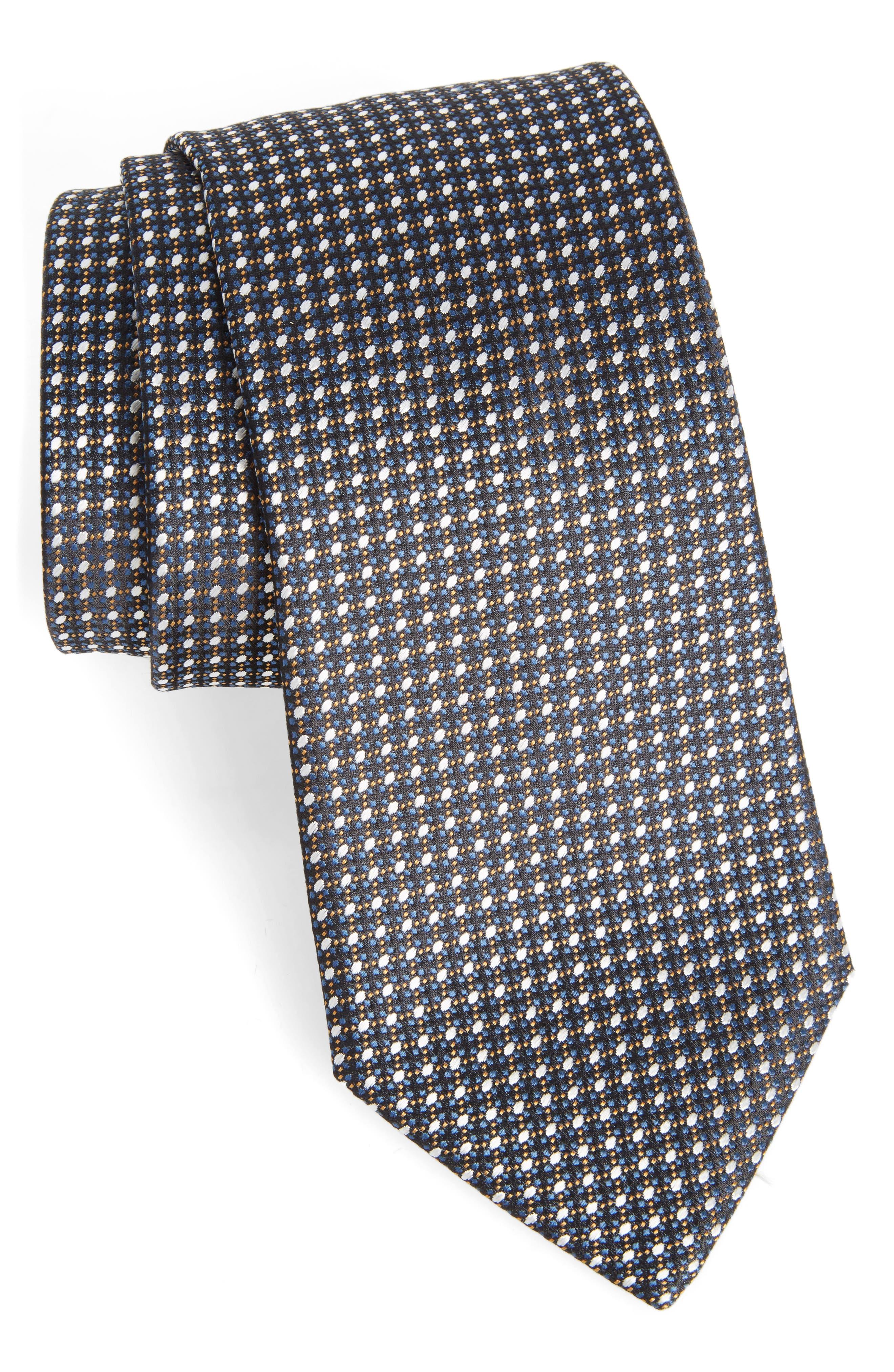 Geometric Silk Tie,                         Main,                         color, Medium Brown