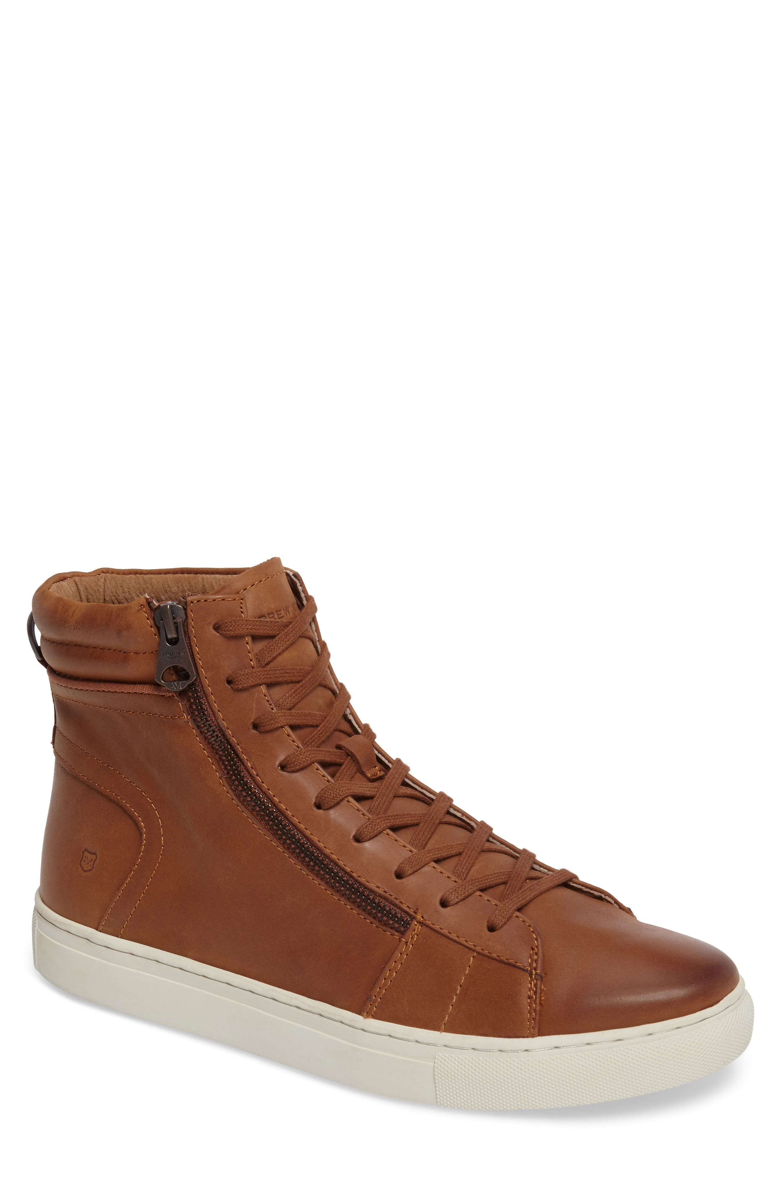 Remsen Sneaker,                         Main,                         color, Whiskey/ Snow White Leather