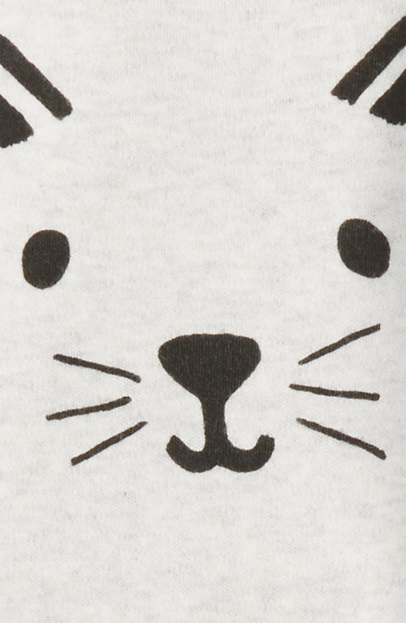 Cat Face Romper,                             Alternate thumbnail 2, color,                             Ivory Egret Heather Cat