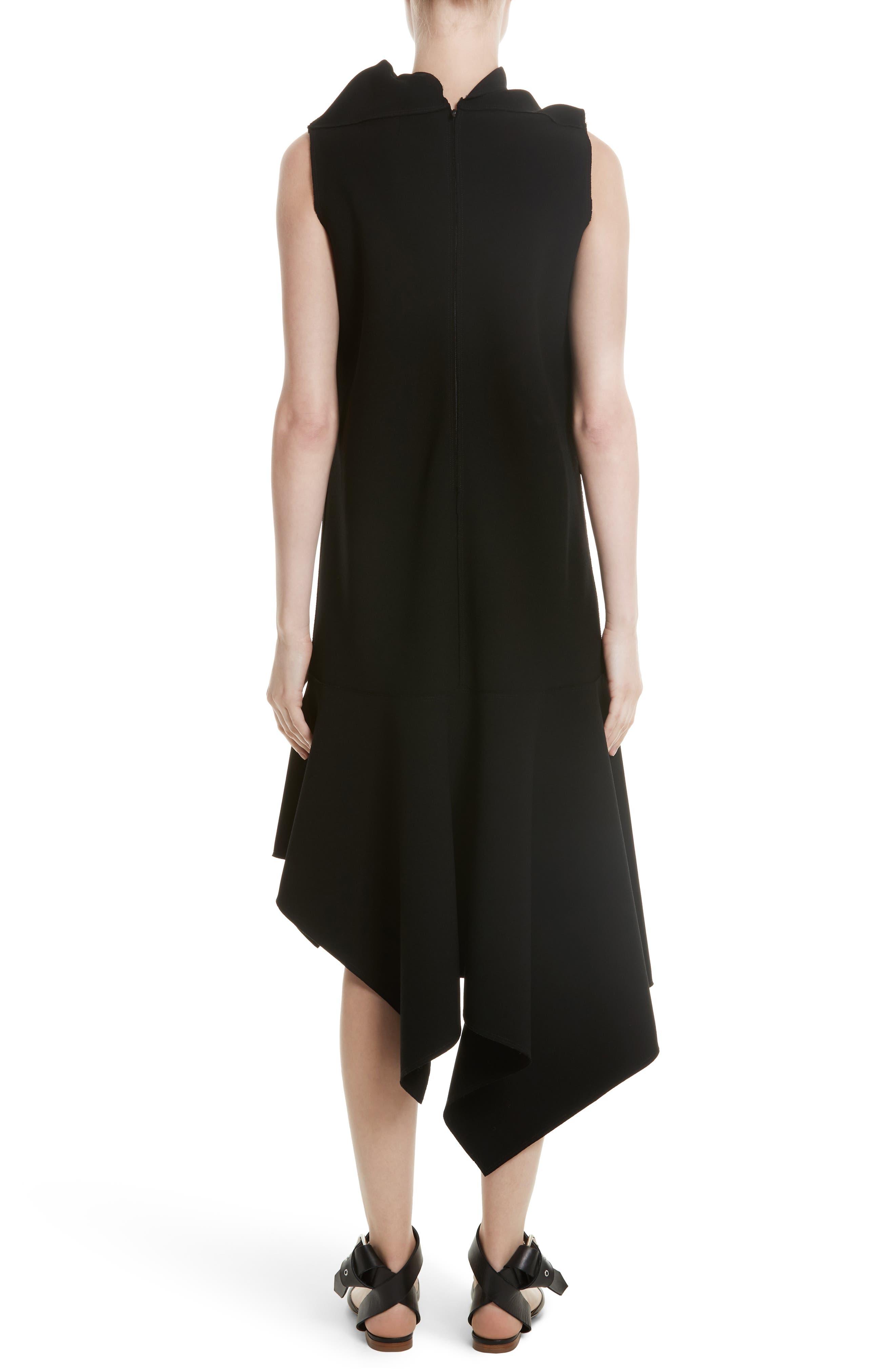 Knotted Neckline Drop Waist Dress,                             Alternate thumbnail 3, color,                             Black