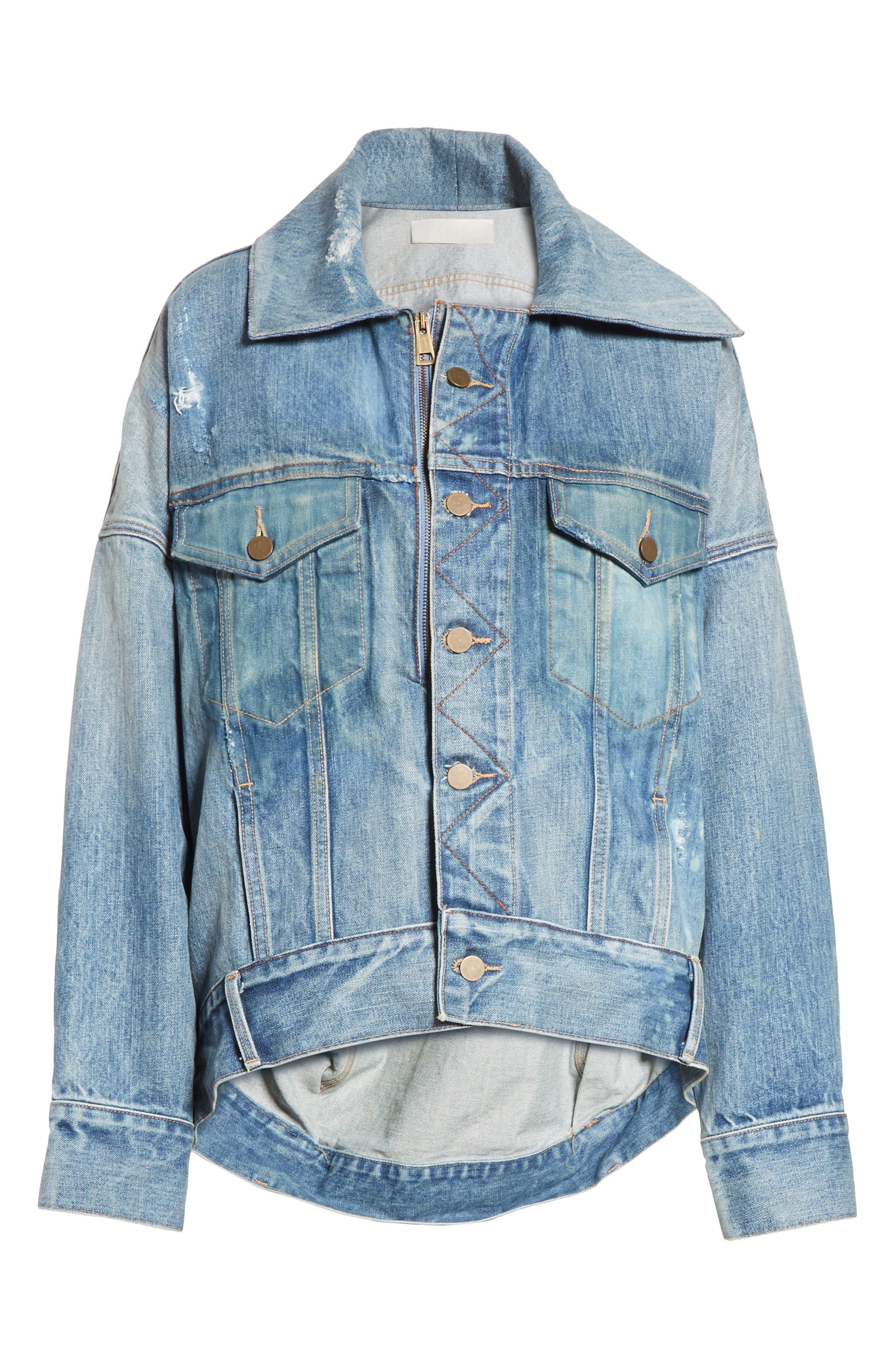 Cocoon Denim Jacket,                             Alternate thumbnail 8, color,                             Blue