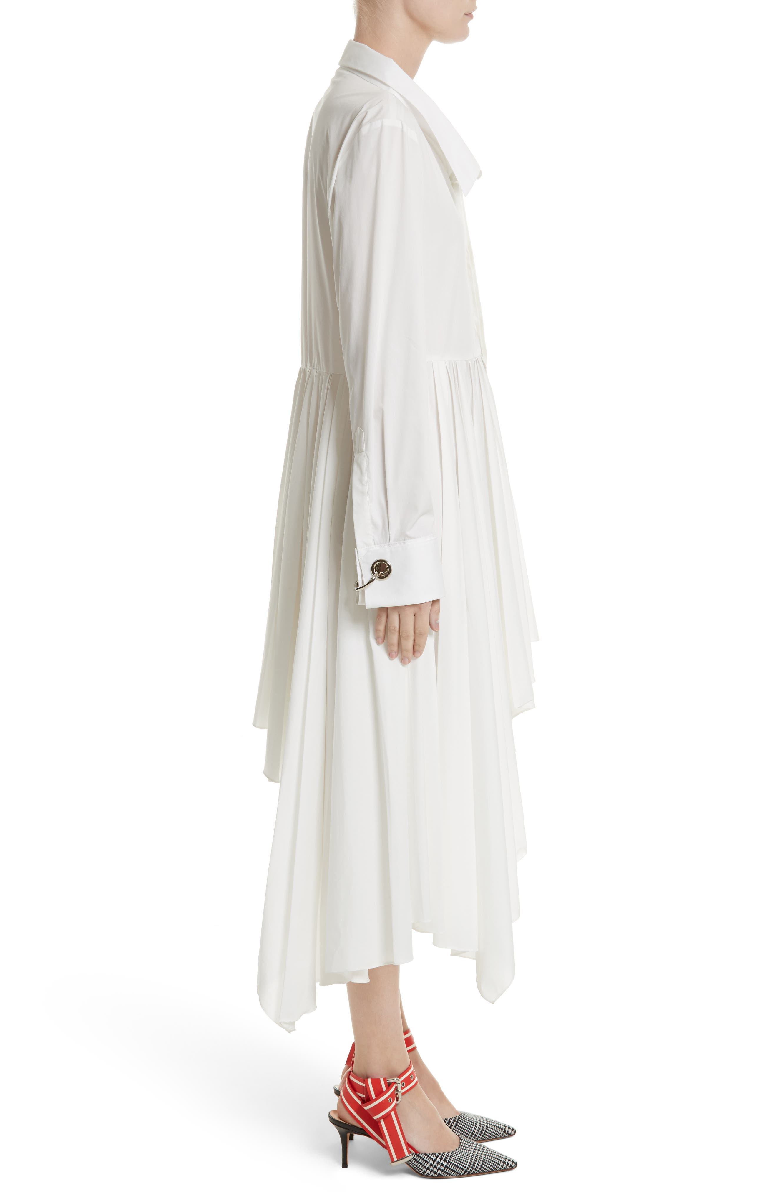 Pleated Asymmetrical Shirtdress,                             Alternate thumbnail 3, color,                             White