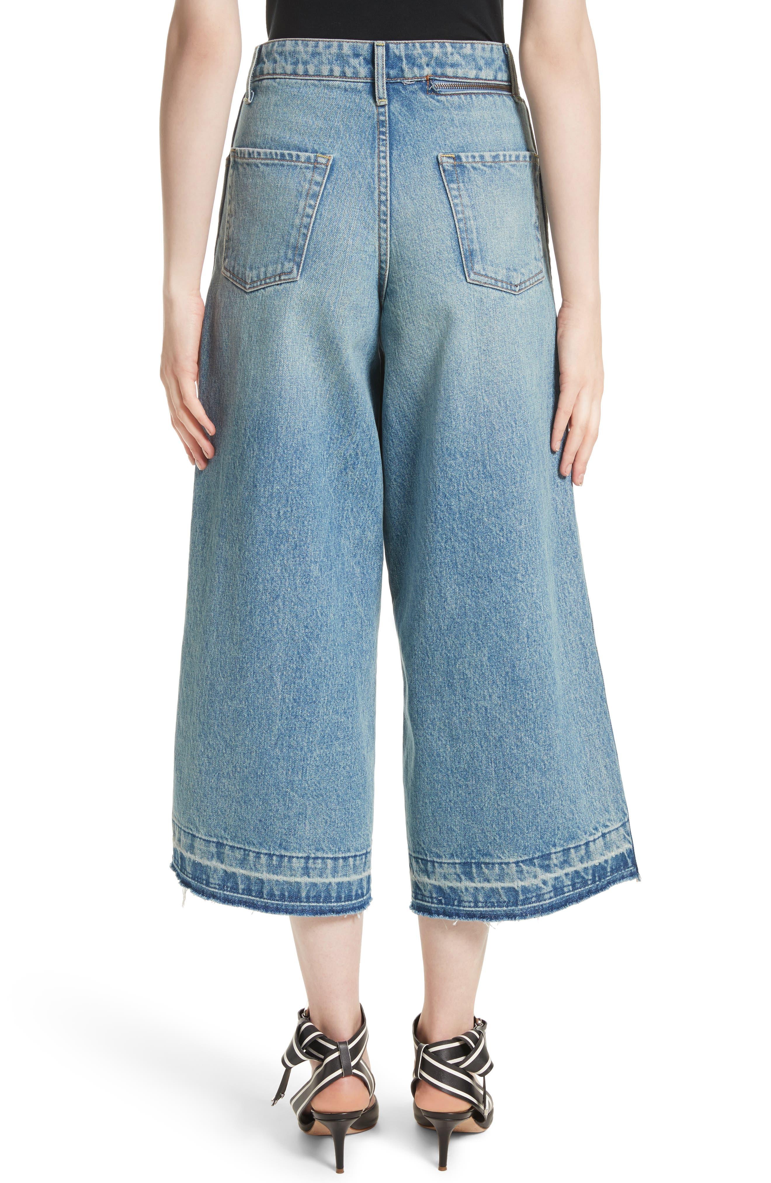 Shifted Zip Crop Wide Leg Jeans,                             Alternate thumbnail 2, color,                             Blue