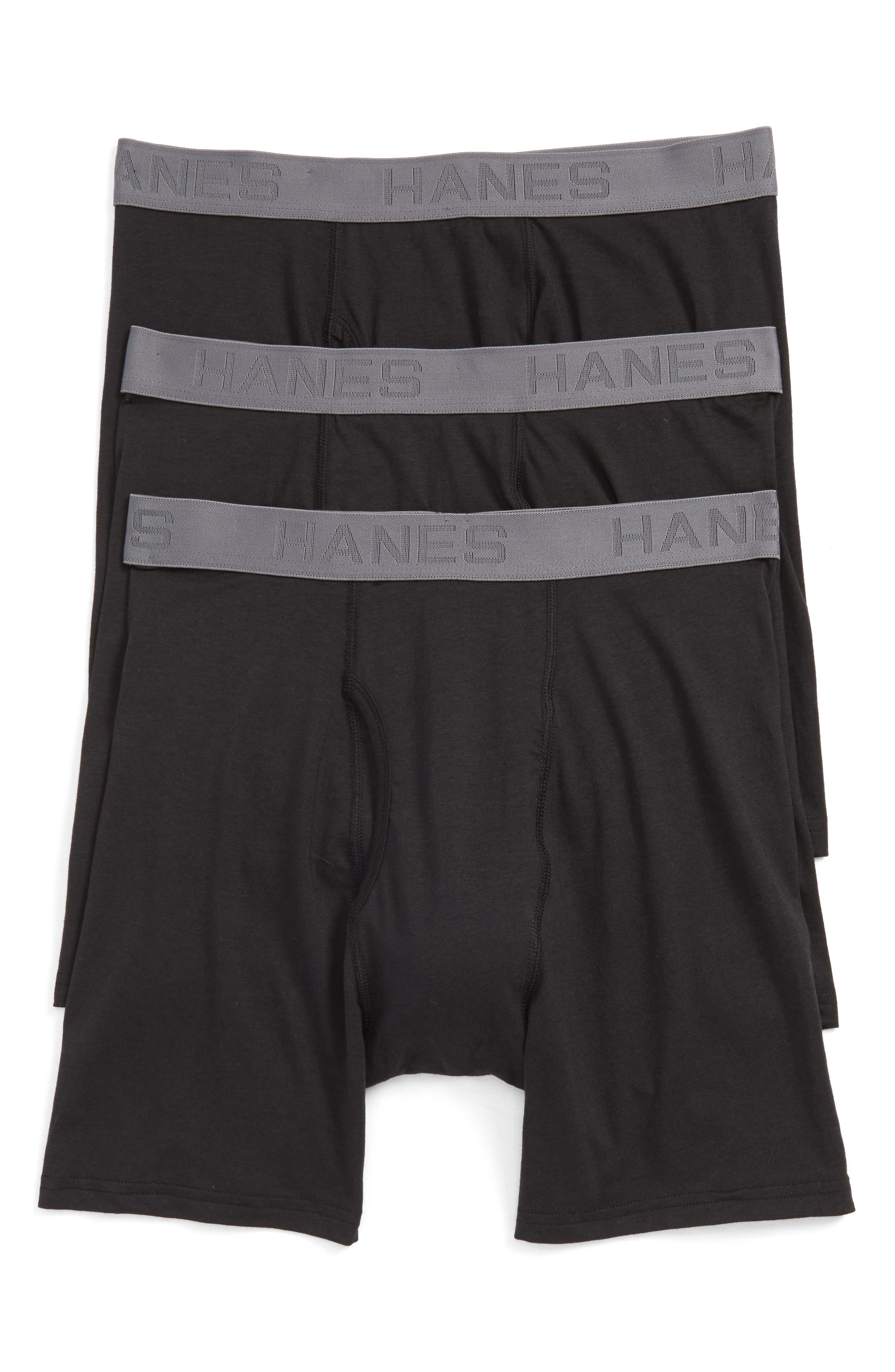 Alternate Image 1 Selected - Hanes Luxury Essentials 3-Pack Boxer Briefs