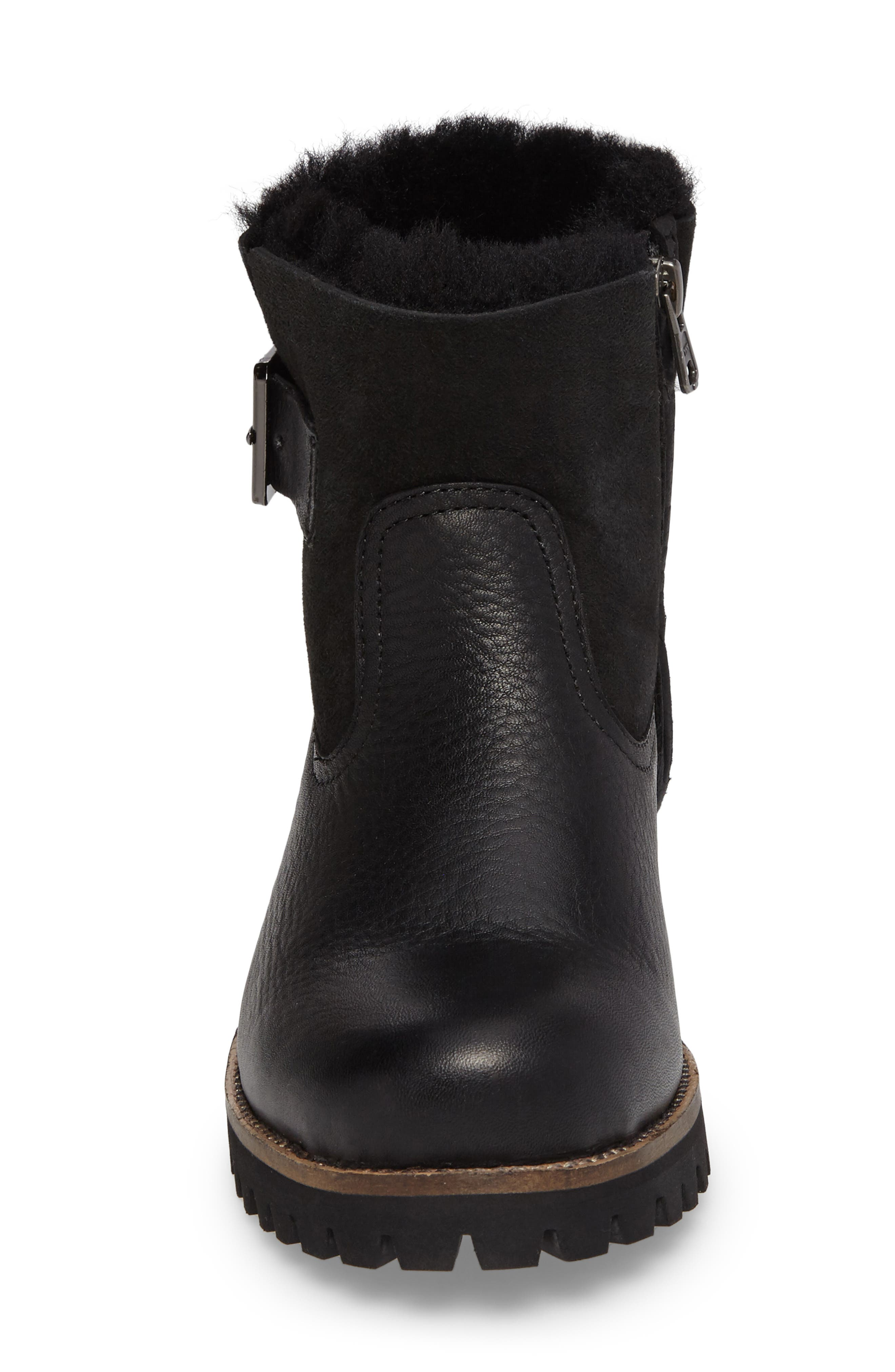 OL06 Genuine Shearling Lined Bootie,                             Alternate thumbnail 4, color,                             Black Leather
