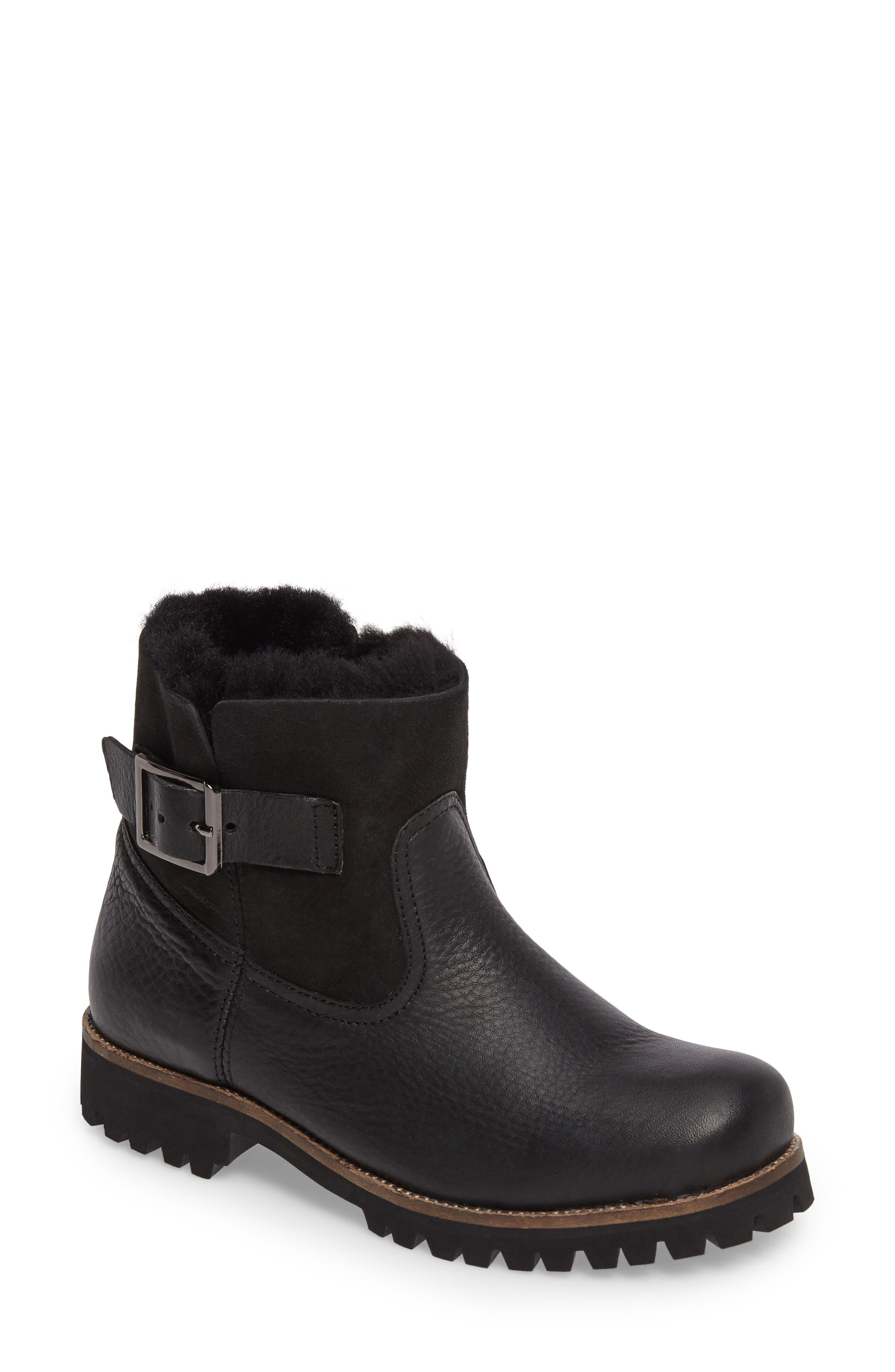 OL06 Genuine Shearling Lined Bootie,                             Main thumbnail 1, color,                             Black Leather