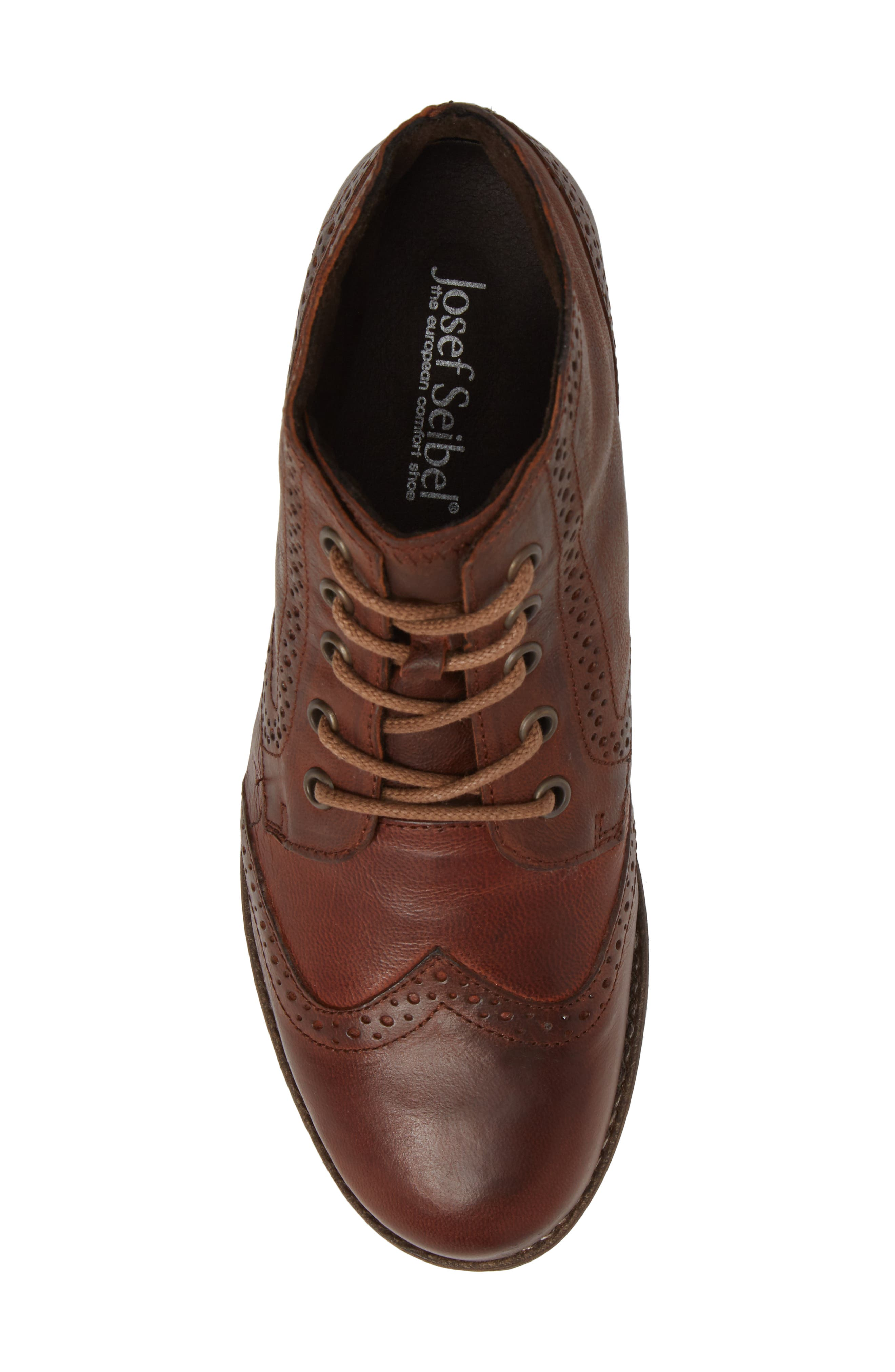 'Sienna 15' Wingtip Bootie,                             Alternate thumbnail 5, color,                             Camel Leather