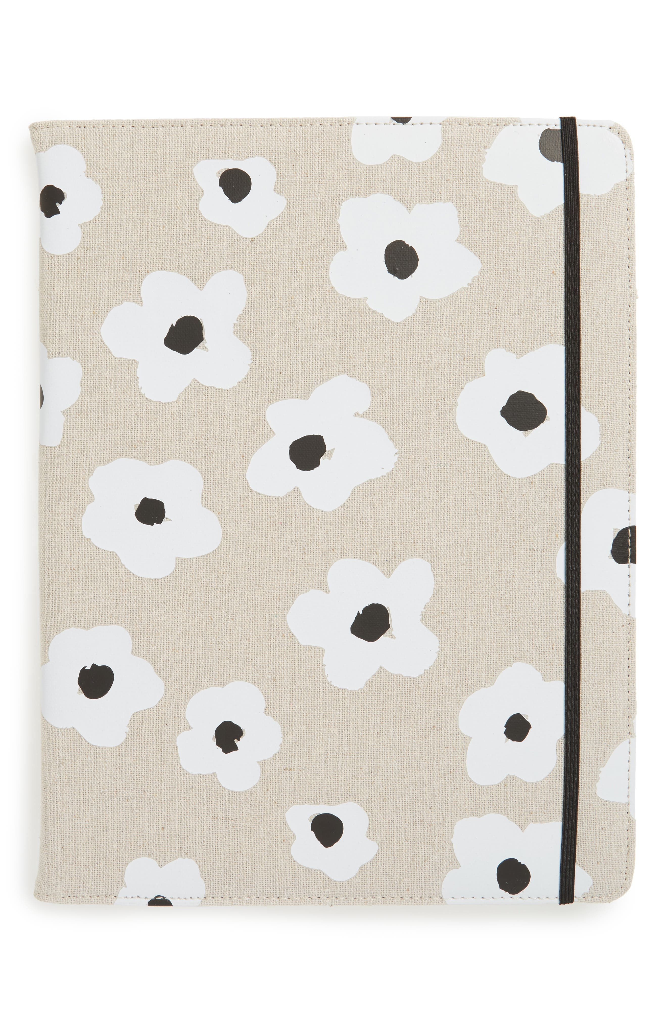 faye floral notepad folio,                         Main,                         color, Black/White