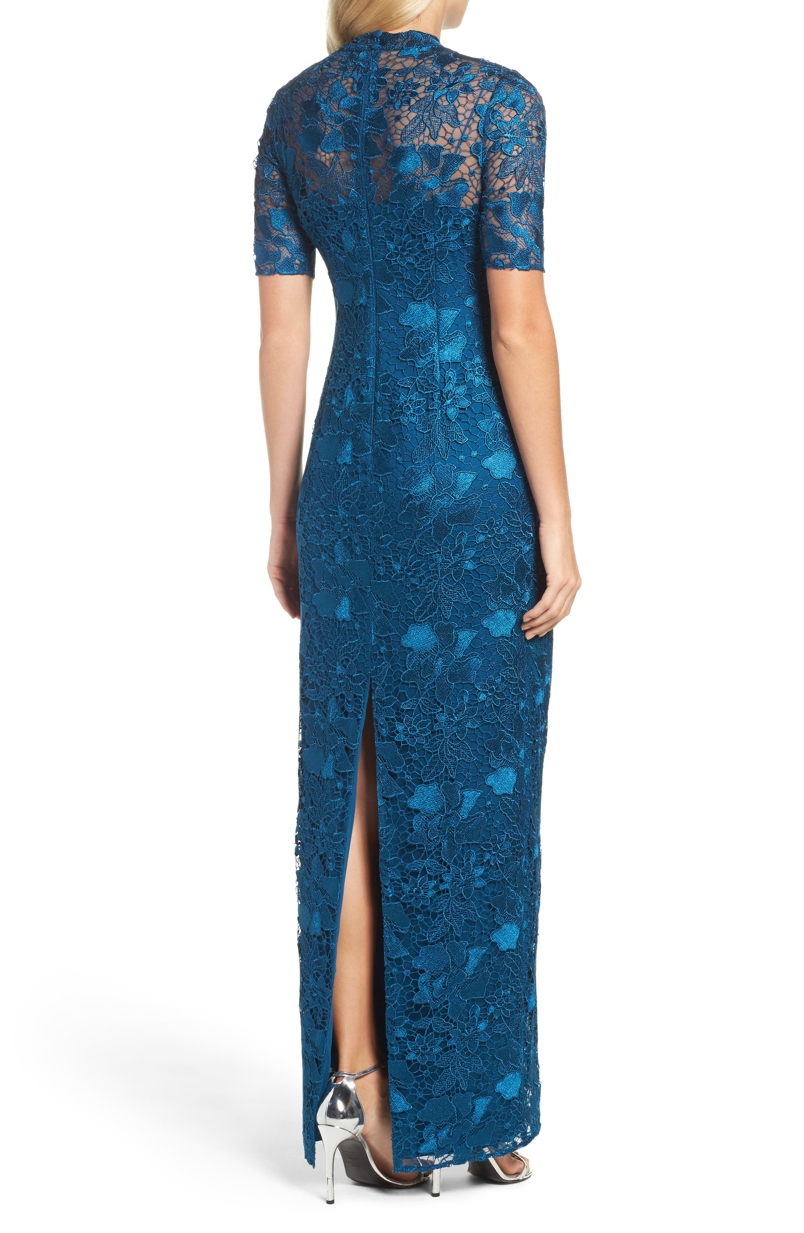 Guipure Lace Column Gown,                             Alternate thumbnail 2, color,                             Evening Sky
