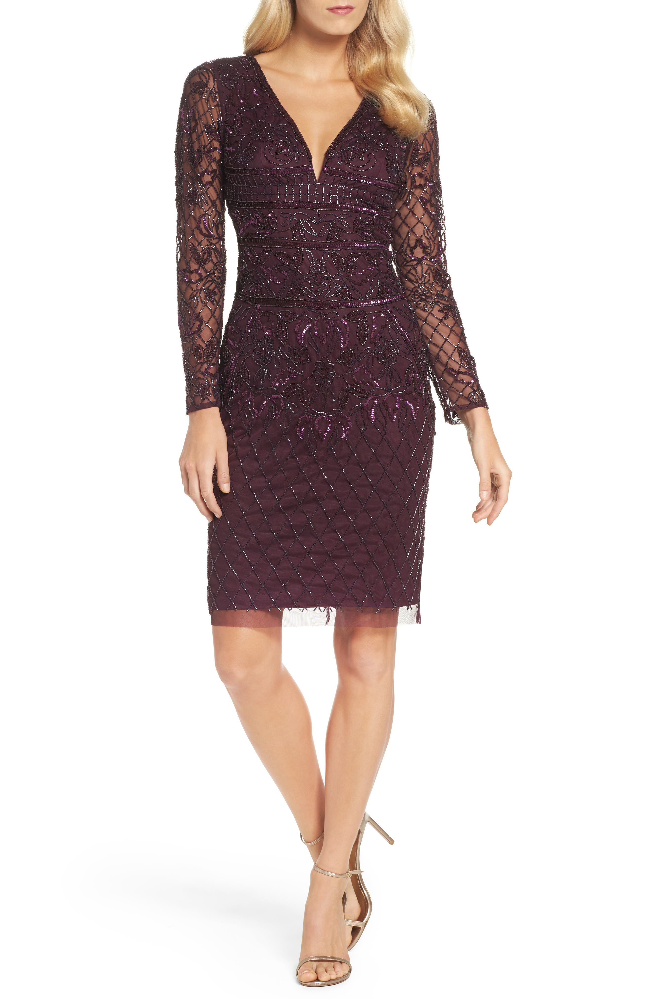 Embellished Deep V-Neck Sheath Dress,                         Main,                         color, Deep Amethyst