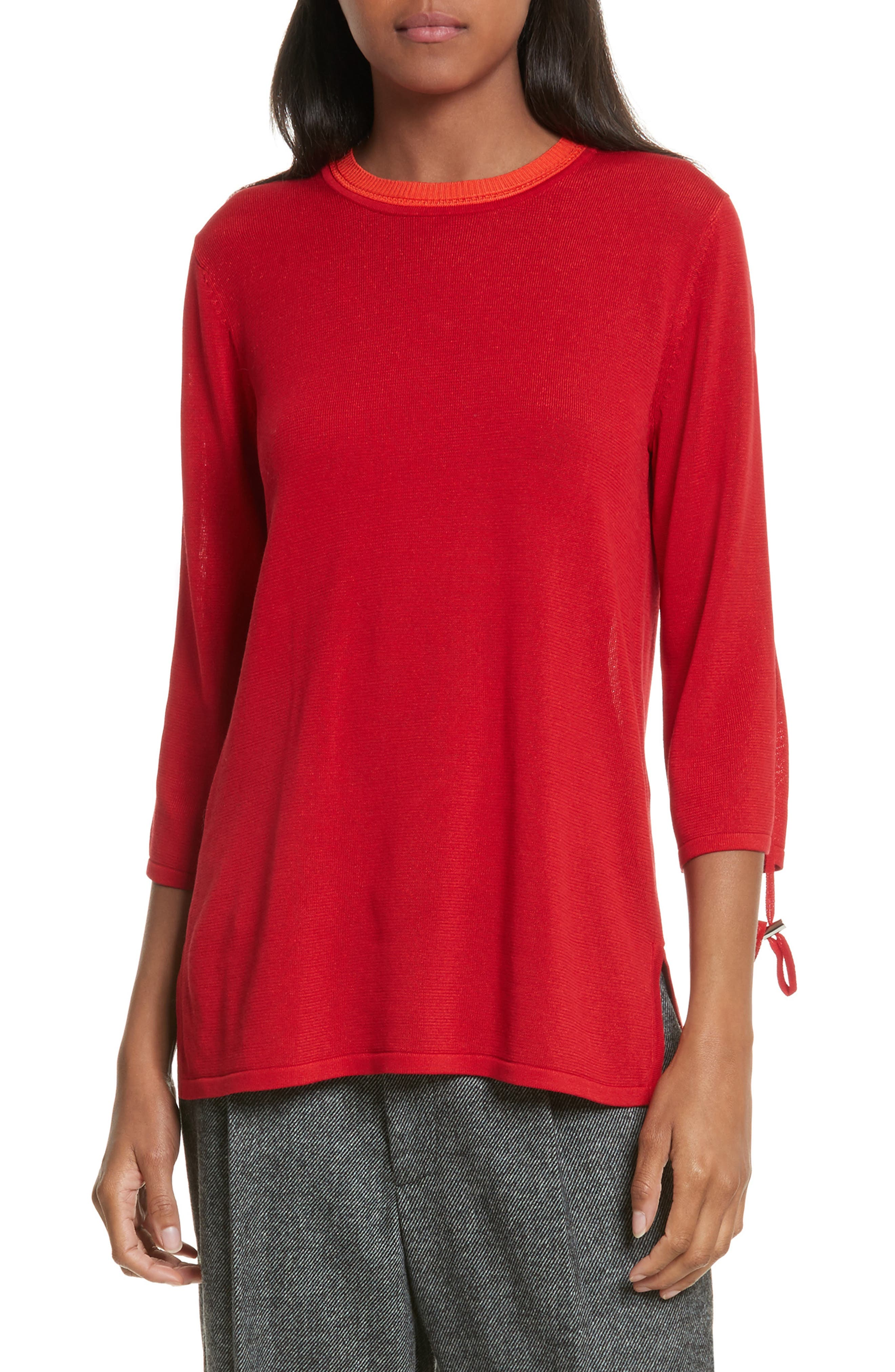 Ruched Sleeve Sweater,                             Main thumbnail 1, color,                             Cherry