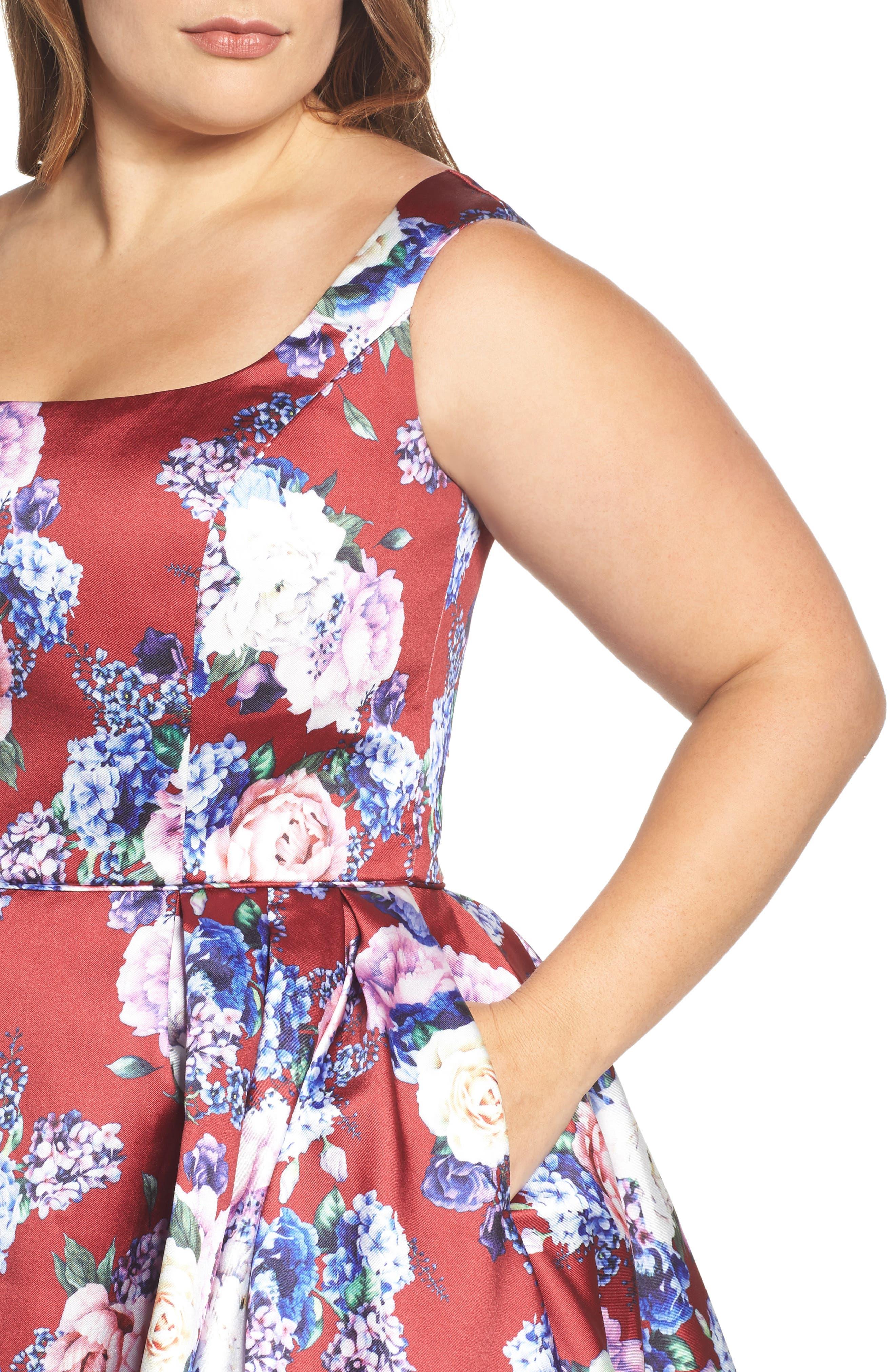 Floral Fit & Flare Dress,                             Alternate thumbnail 4, color,                             Burgundy/ Multi