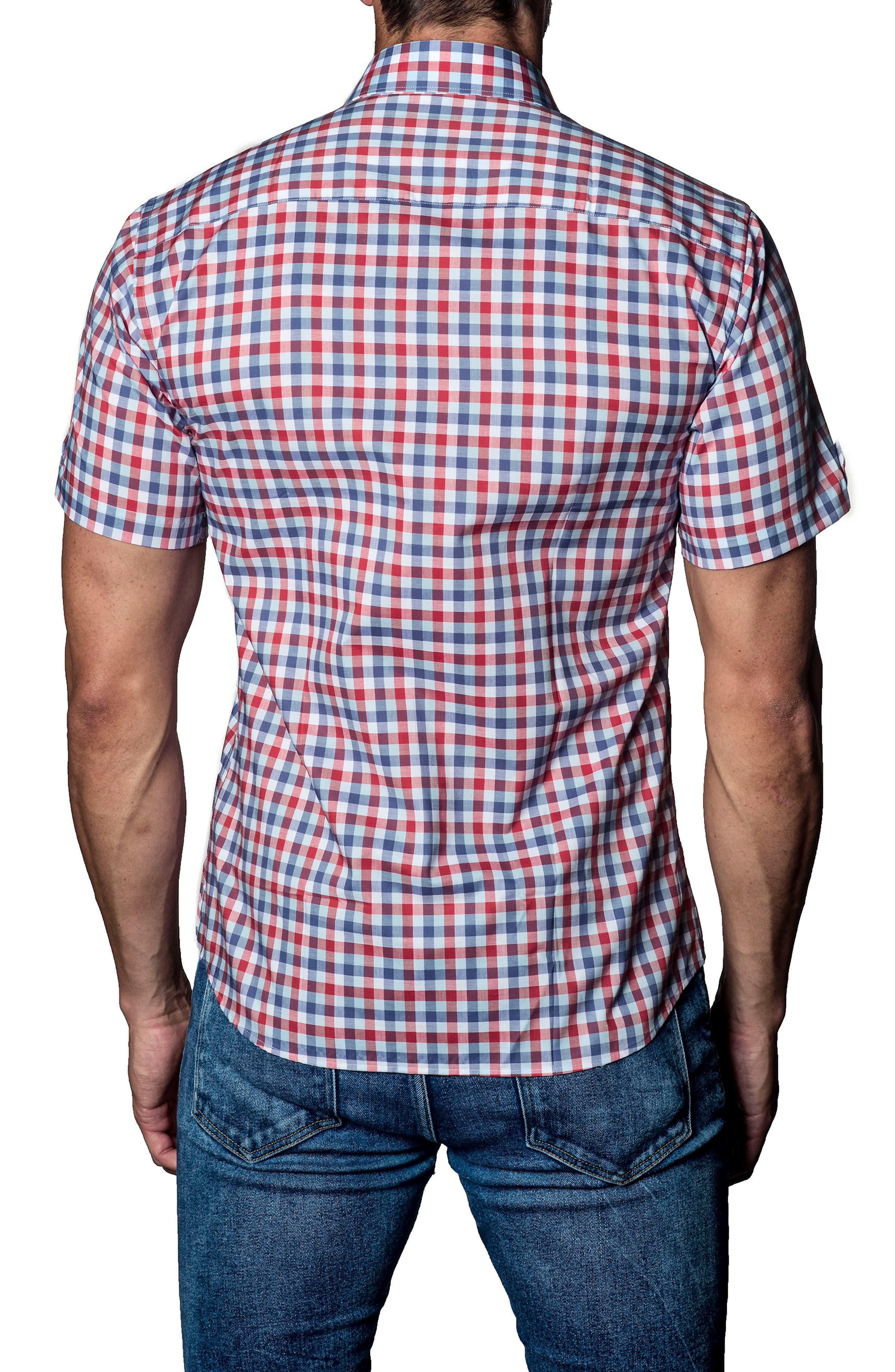 Check Sport Shirt,                             Alternate thumbnail 2, color,                             White Orange Plaid