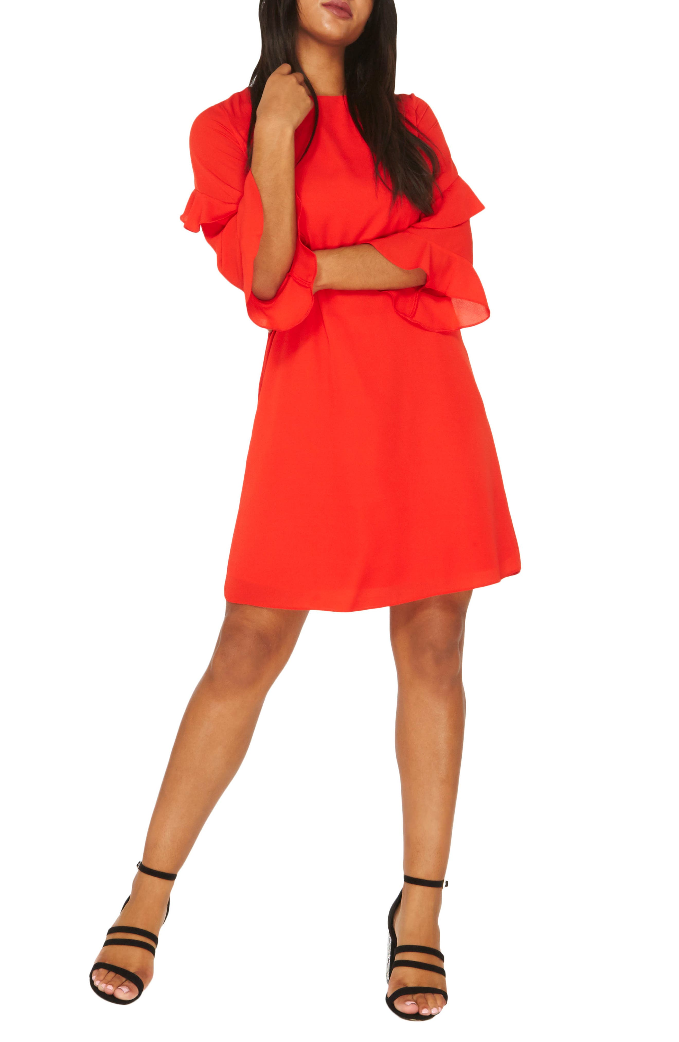 Ruffle Bell Sleeve Shift Dress,                             Alternate thumbnail 3, color,                             Red
