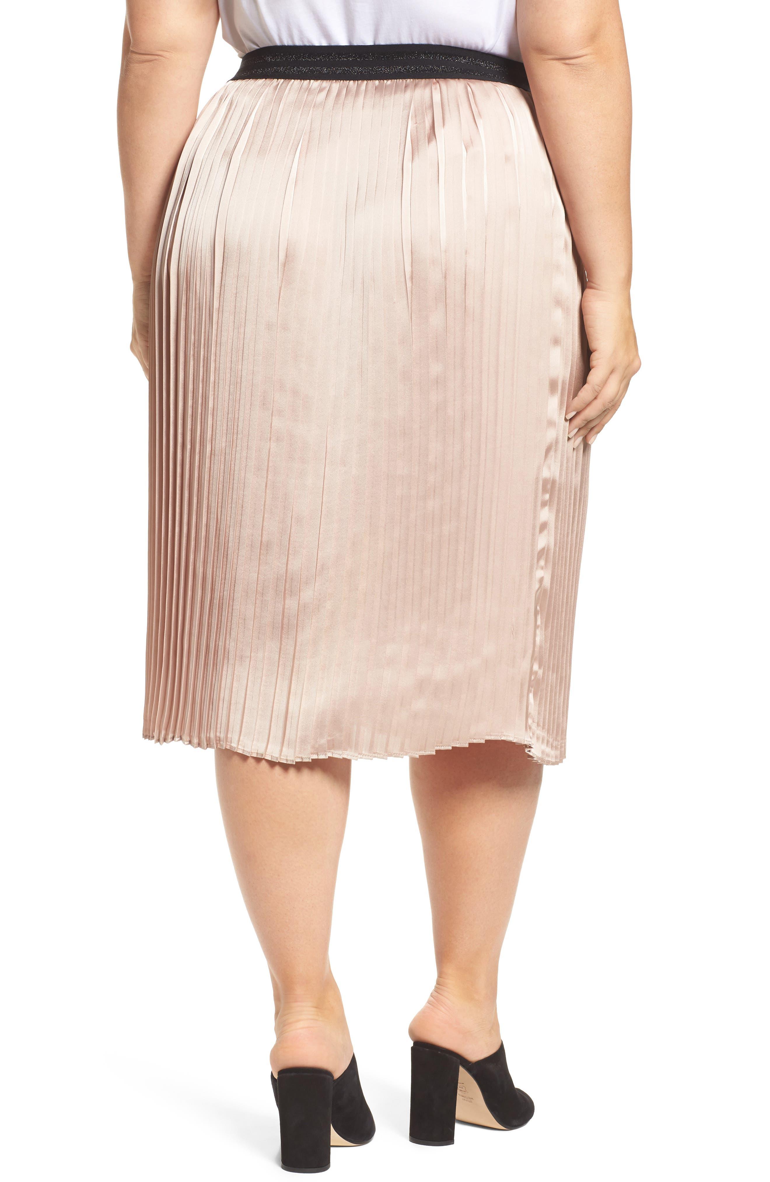 Alternate Image 2  - ELVI Colorblock Pleat Skirt (Plus Size)