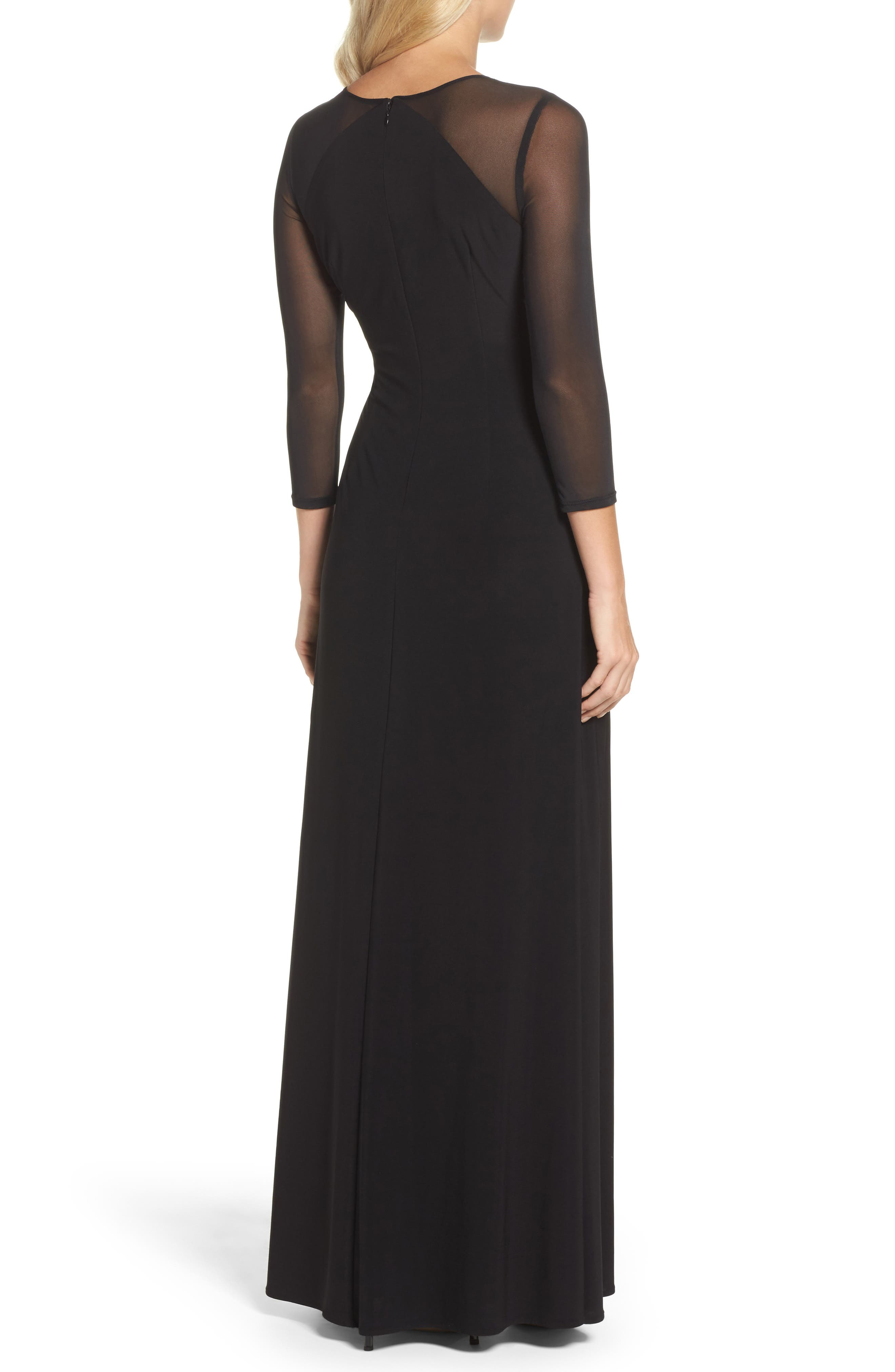 Illusion Jersey Gown,                             Alternate thumbnail 2, color,                             Black