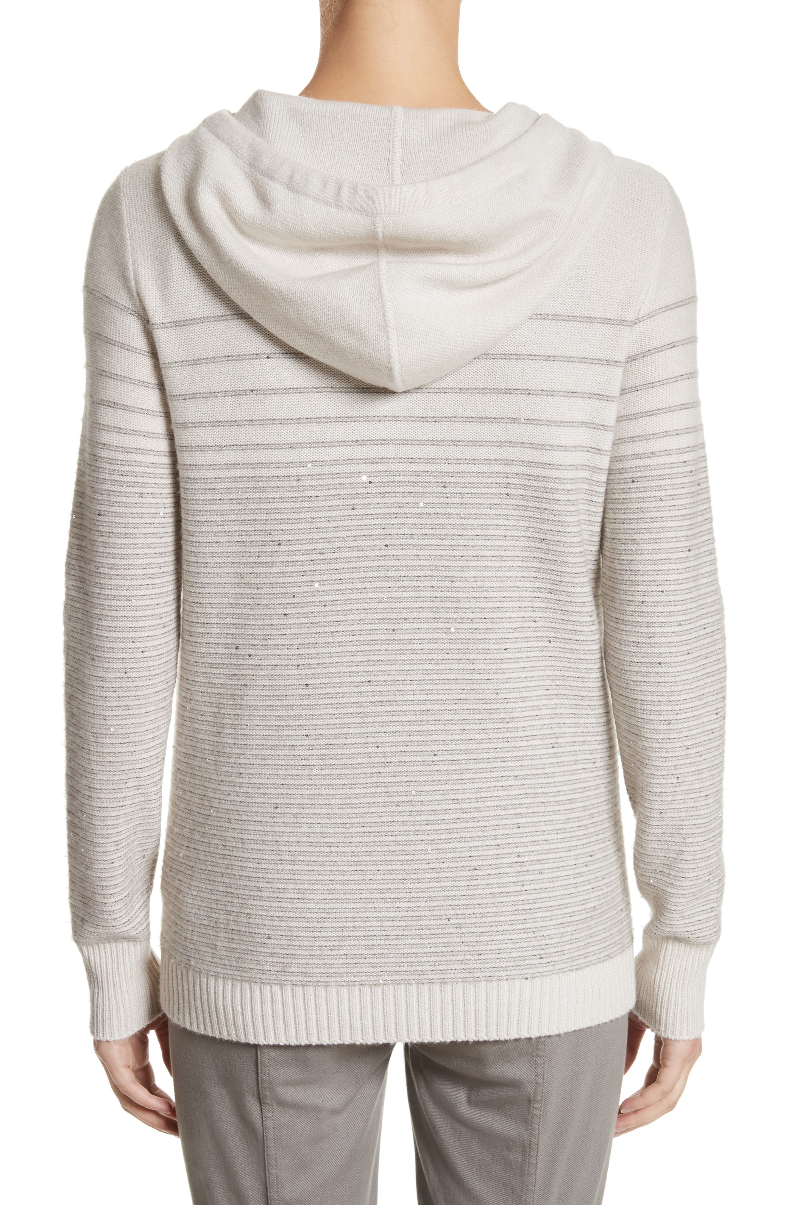 Micro Sequined Textured Stitch Knit Hoodie,                             Alternate thumbnail 2, color,                             Soft Stone