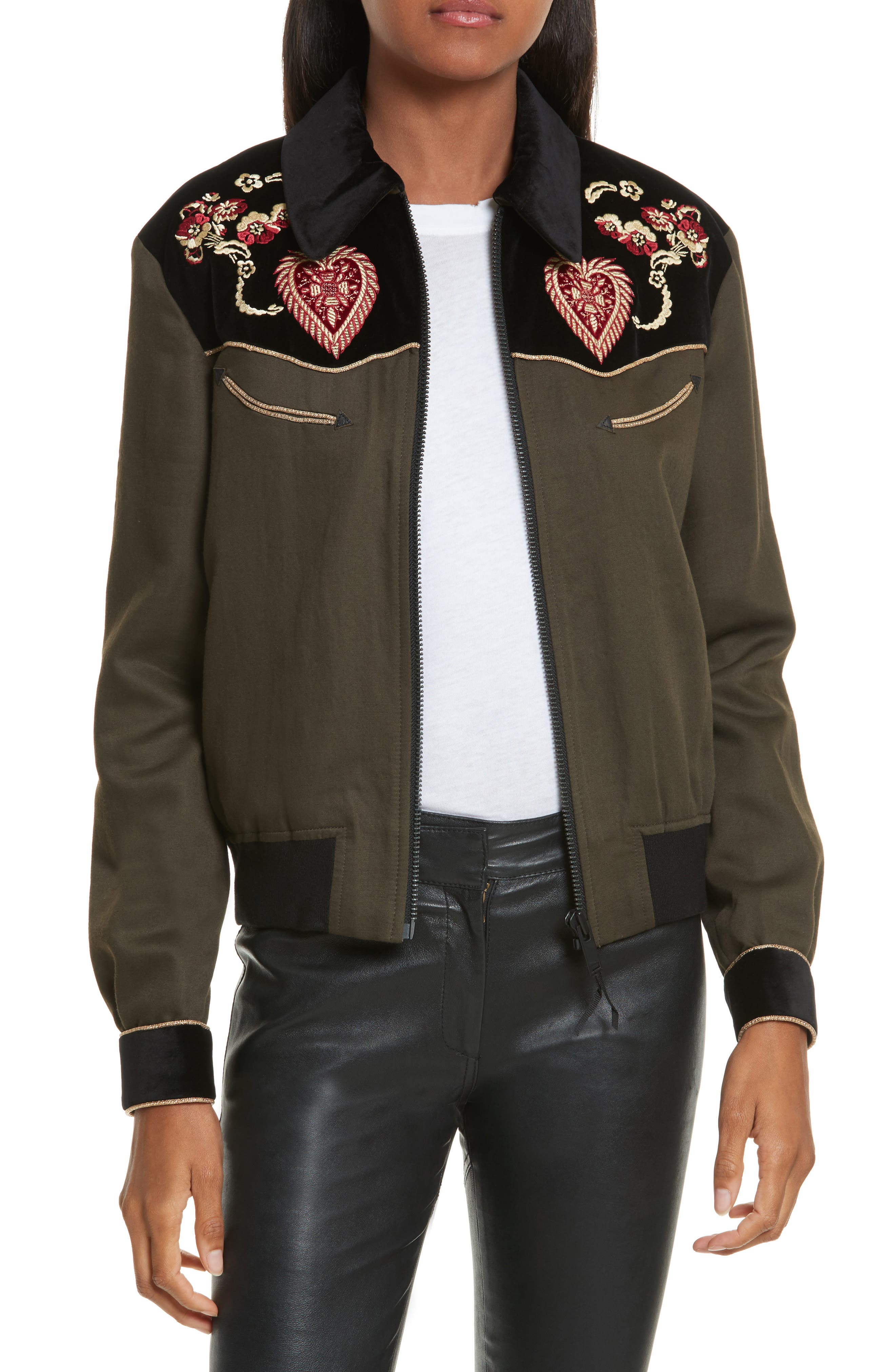 Contrast Embroidery Bomber Jacket,                         Main,                         color, Taupe