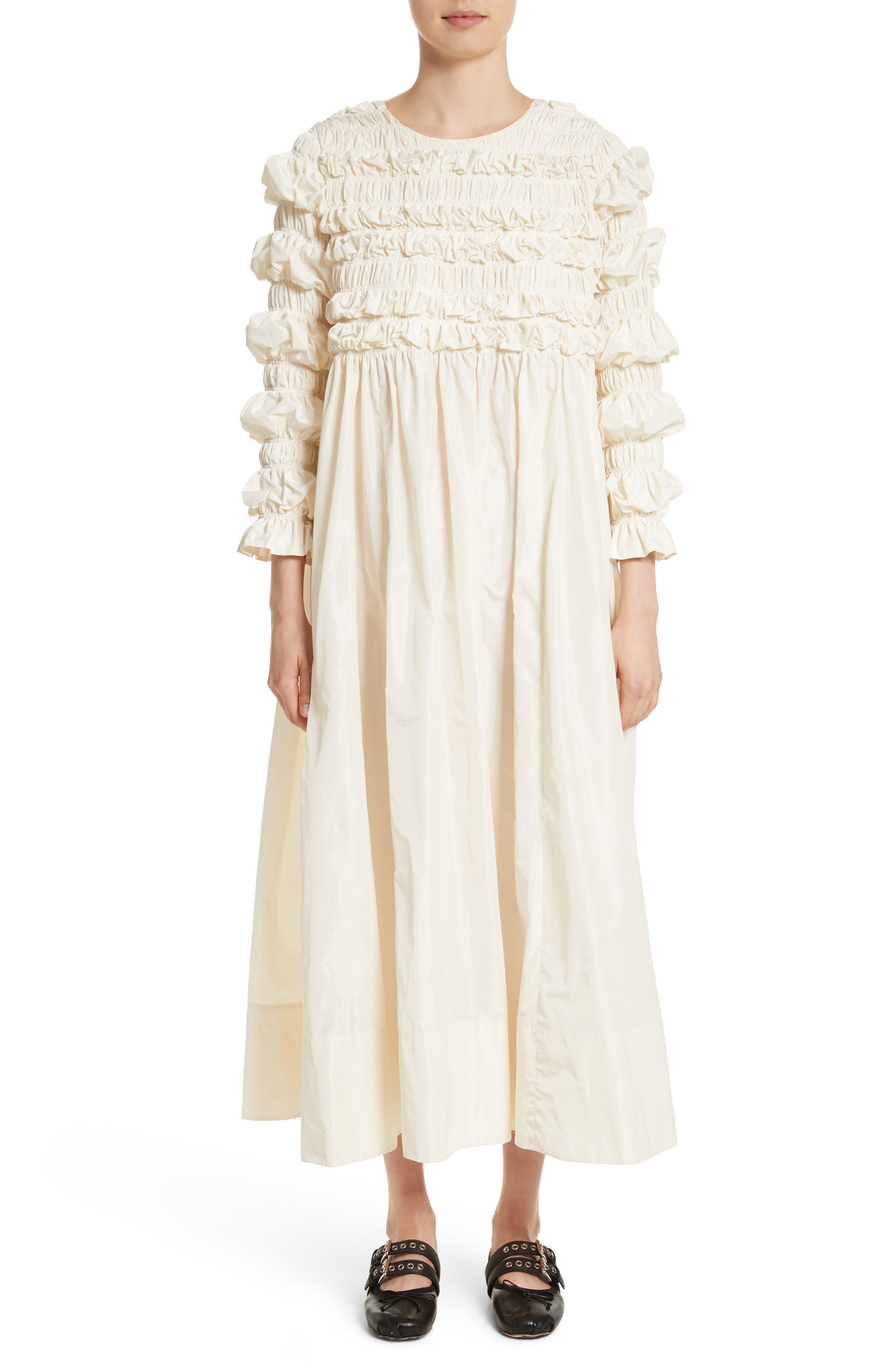 Lizzie Ruffled Taffeta Dress,                         Main,                         color, Ivory