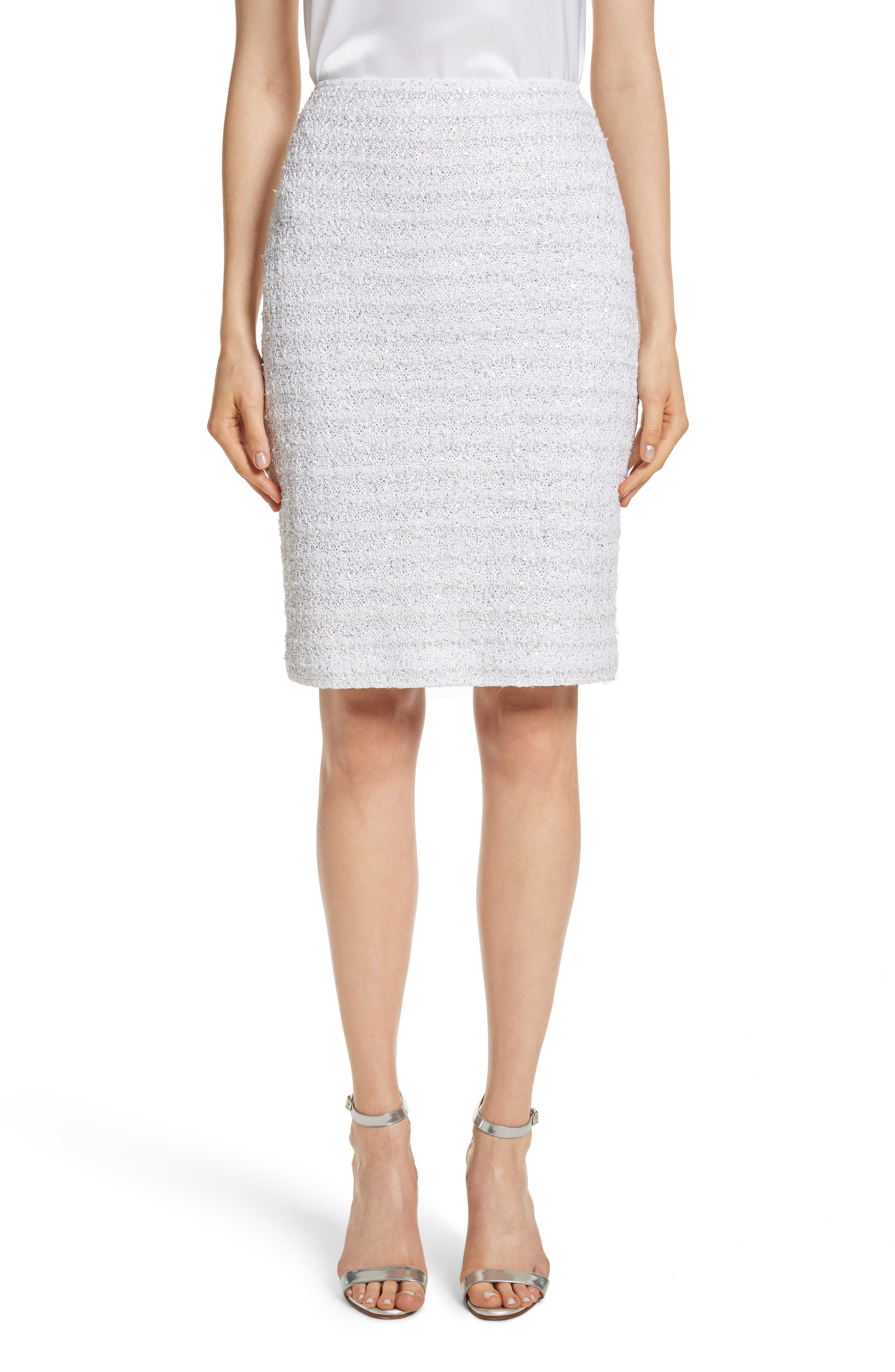 Frosted Metallic Tweed Pencil Skirt,                             Main thumbnail 1, color,                             Bianco Multi