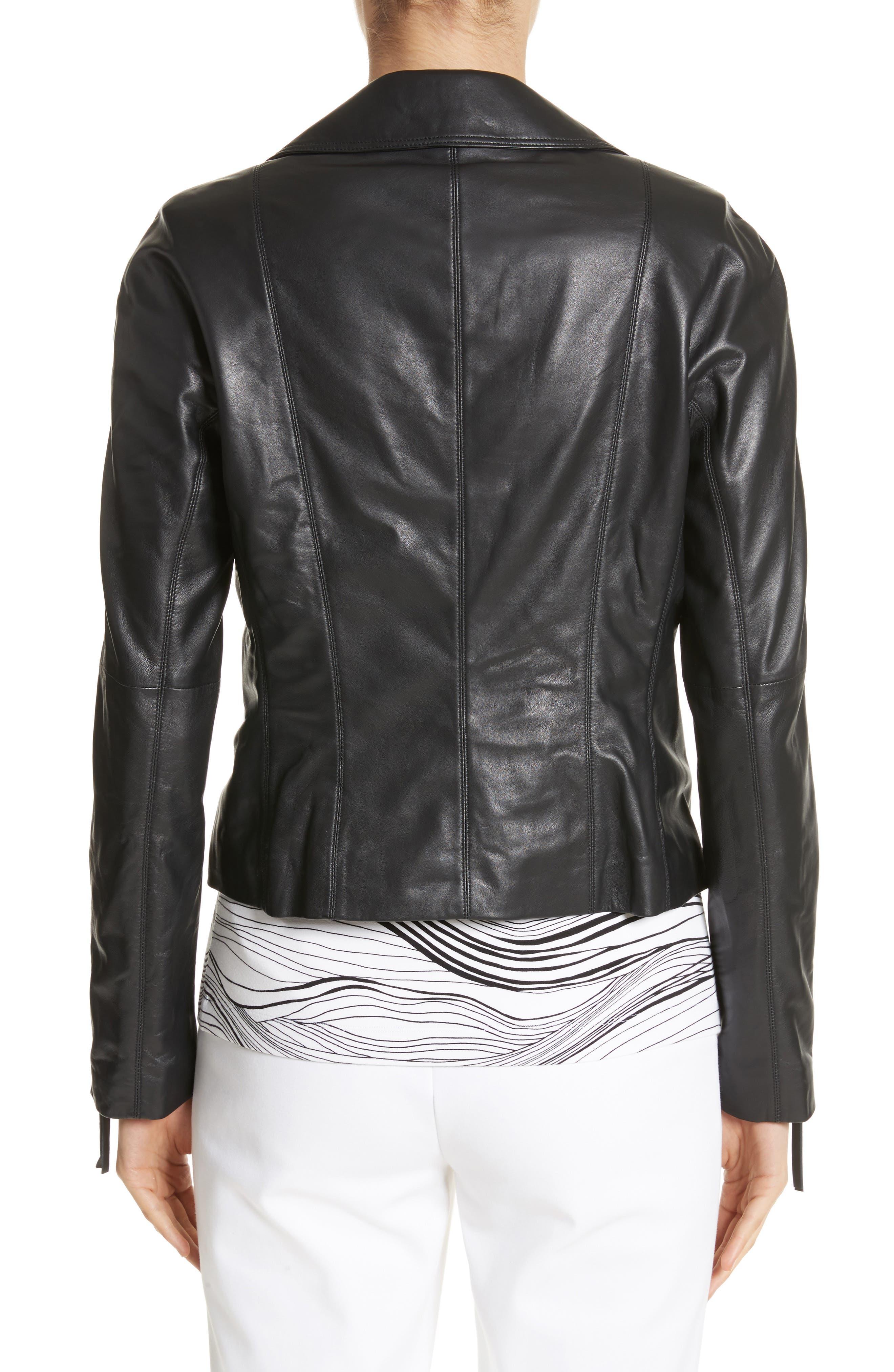 Nappa Leather Moto Jacket,                             Alternate thumbnail 2, color,                             Caviar