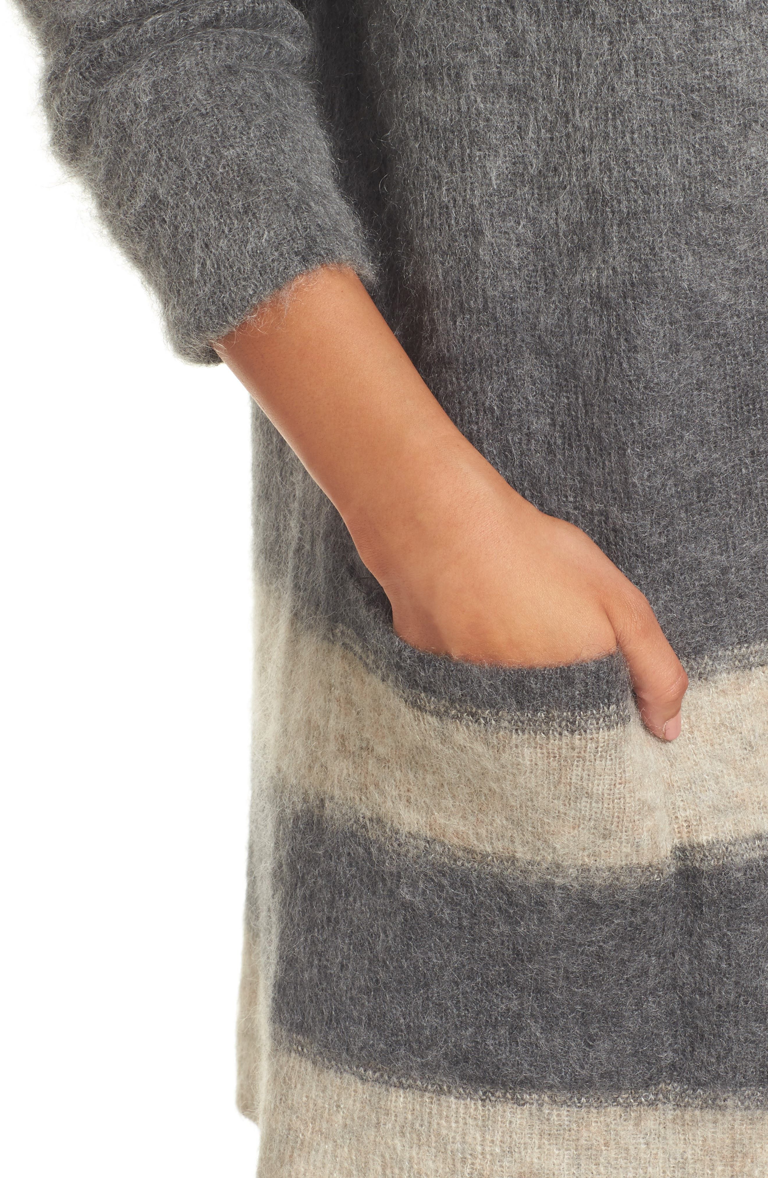 Long Open-Front Cardigan,                             Alternate thumbnail 4, color,                             Maple Oat