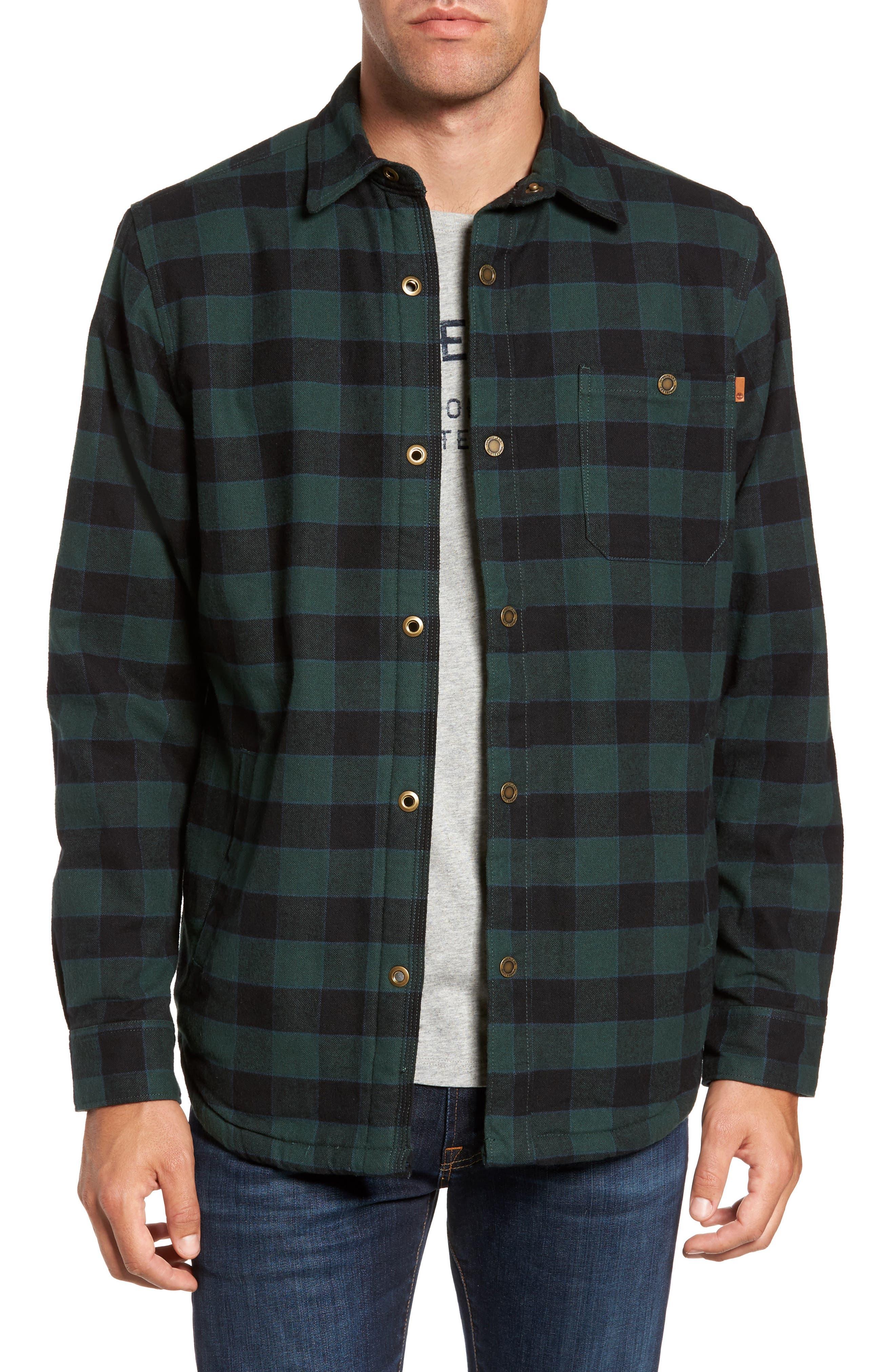 Check Shirt Jacket with Faux Shearling Lining,                         Main,                         color, Green Gables