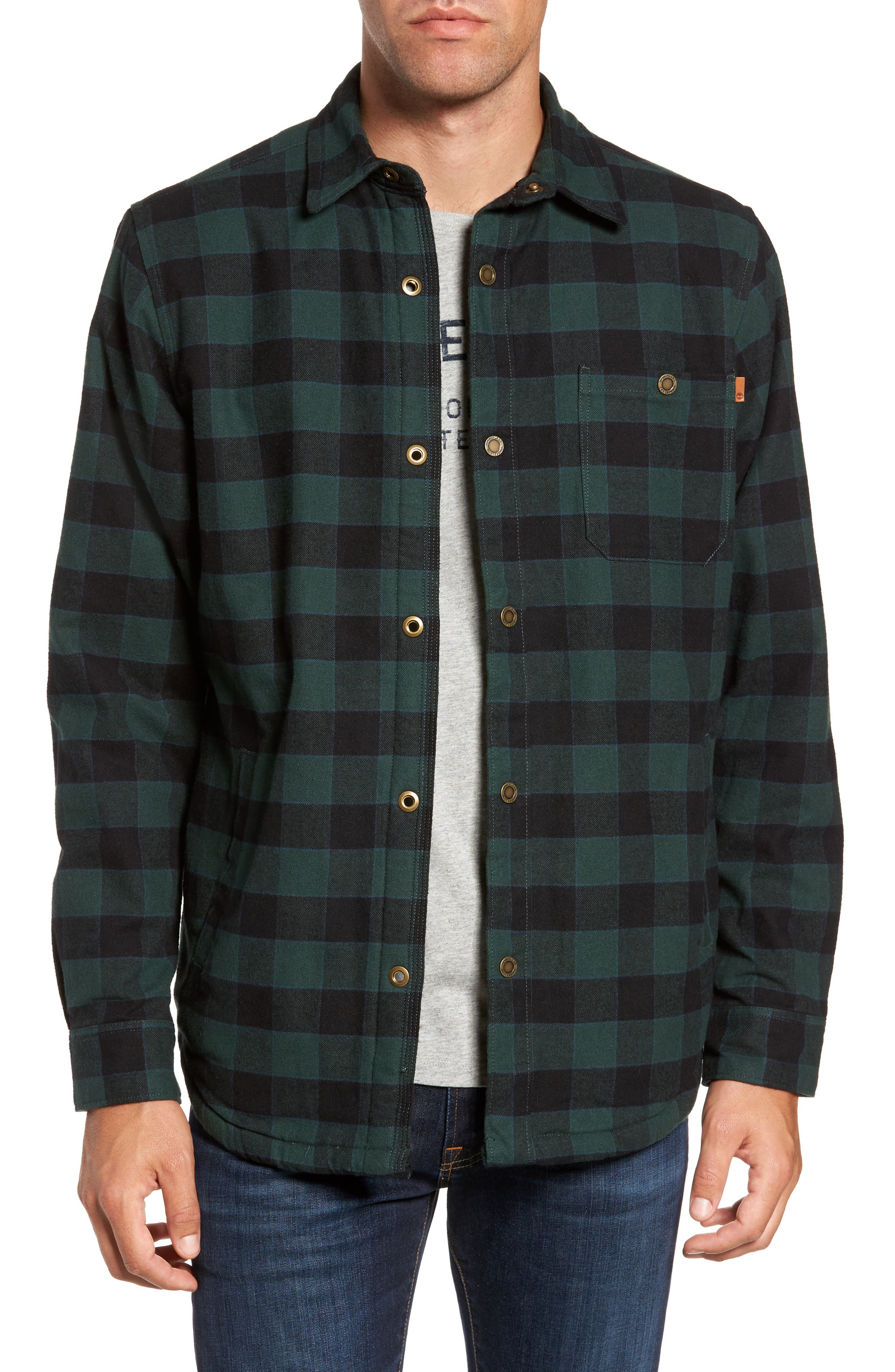 Timberland Check Shirt Jacket with Faux Shearling Lining