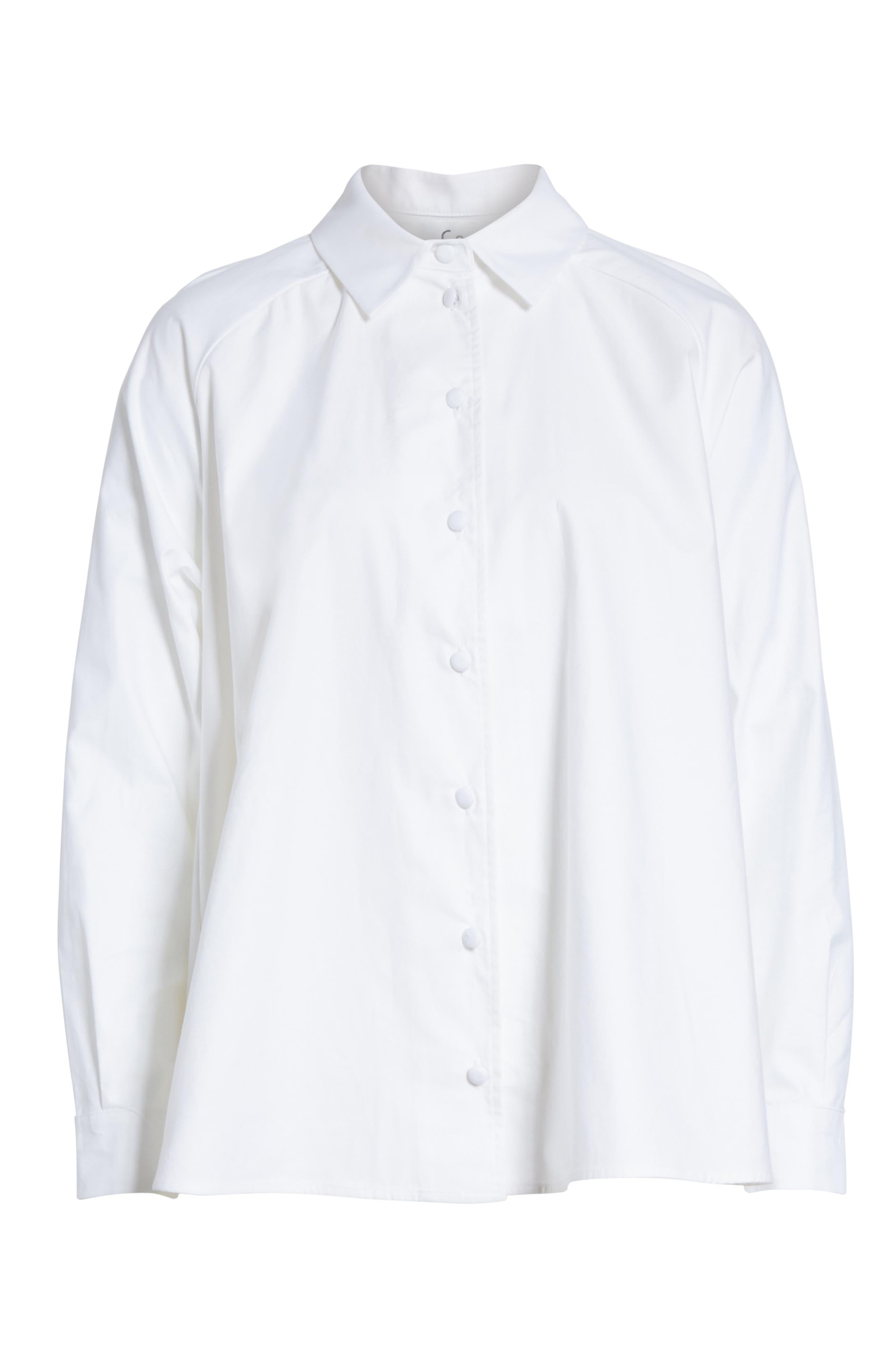 Cotton Poplin Top,                             Alternate thumbnail 6, color,                             White