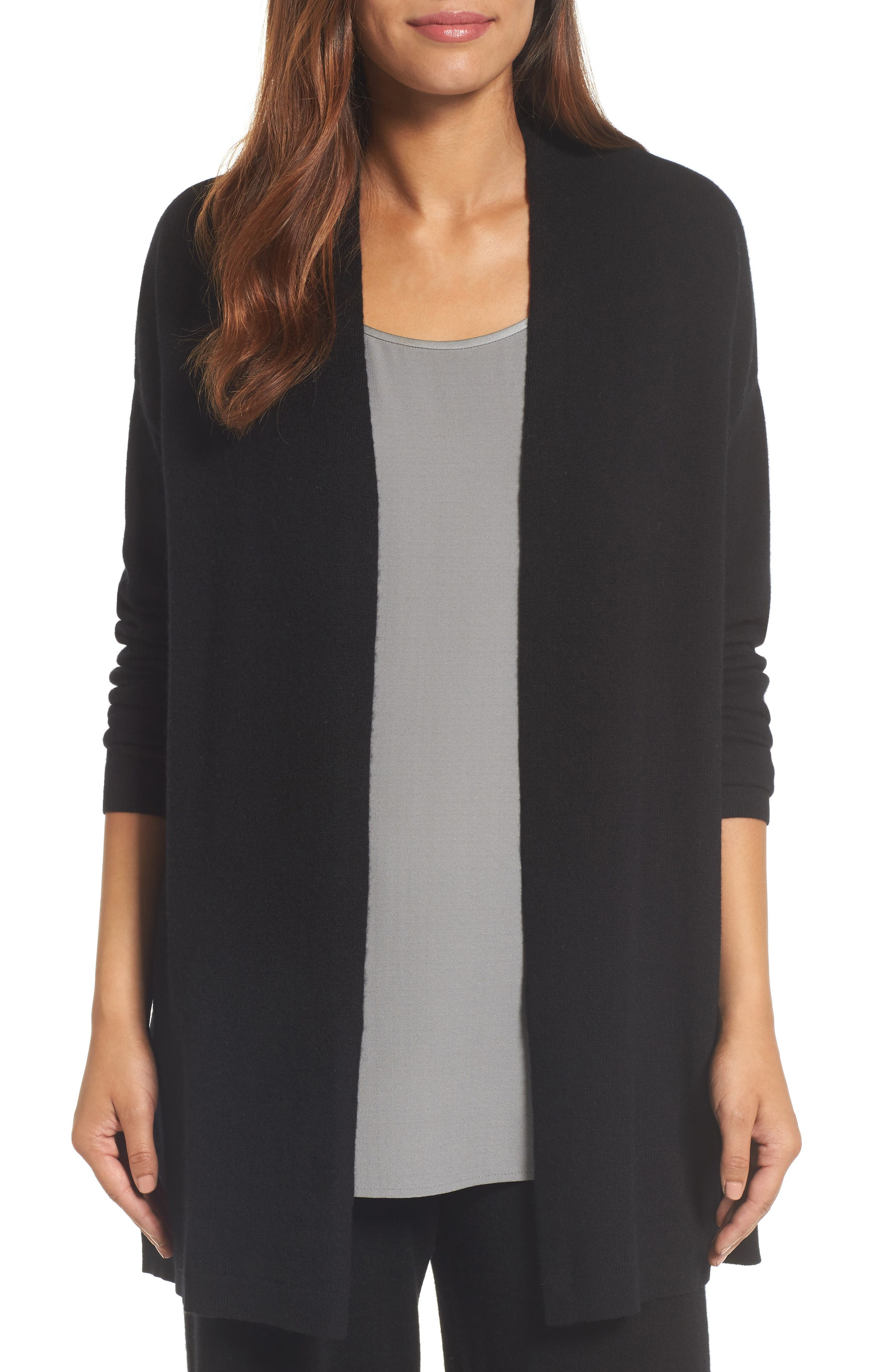 Long Cashmere Cardigan,                         Main,                         color, Black