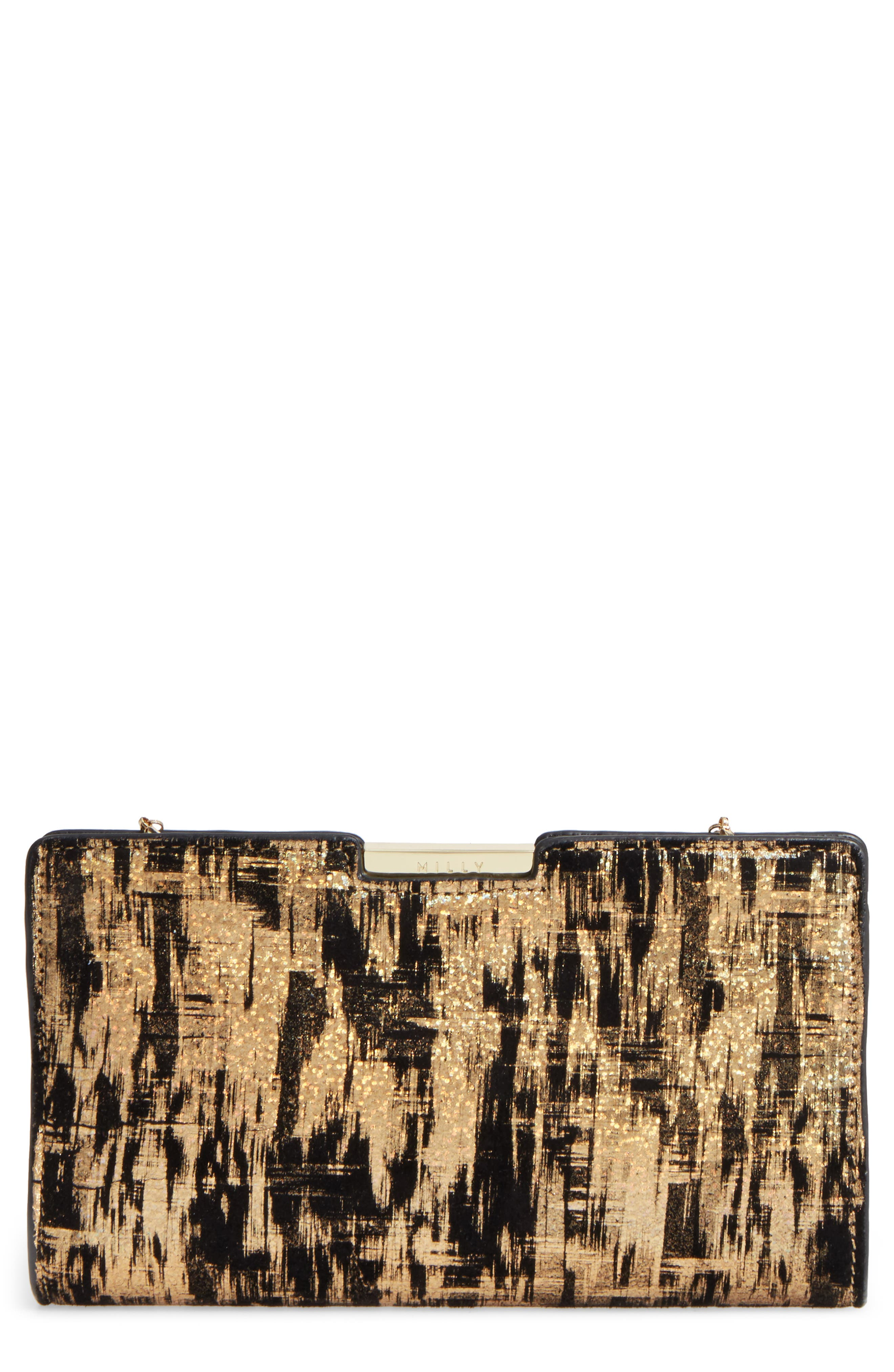 Brushstroke Suede Frame Clutch,                             Main thumbnail 1, color,                             Gold