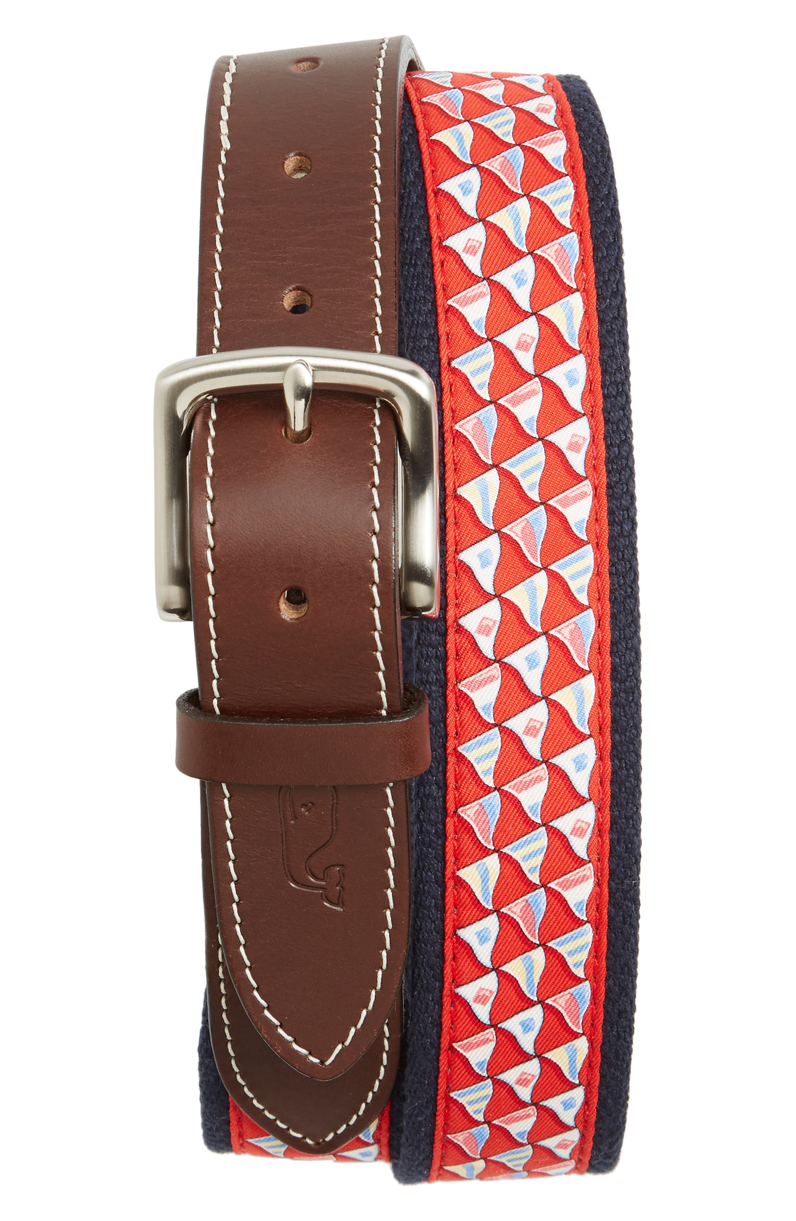 Nautical Flags Canvas Belt,                         Main,                         color, Nautical Red