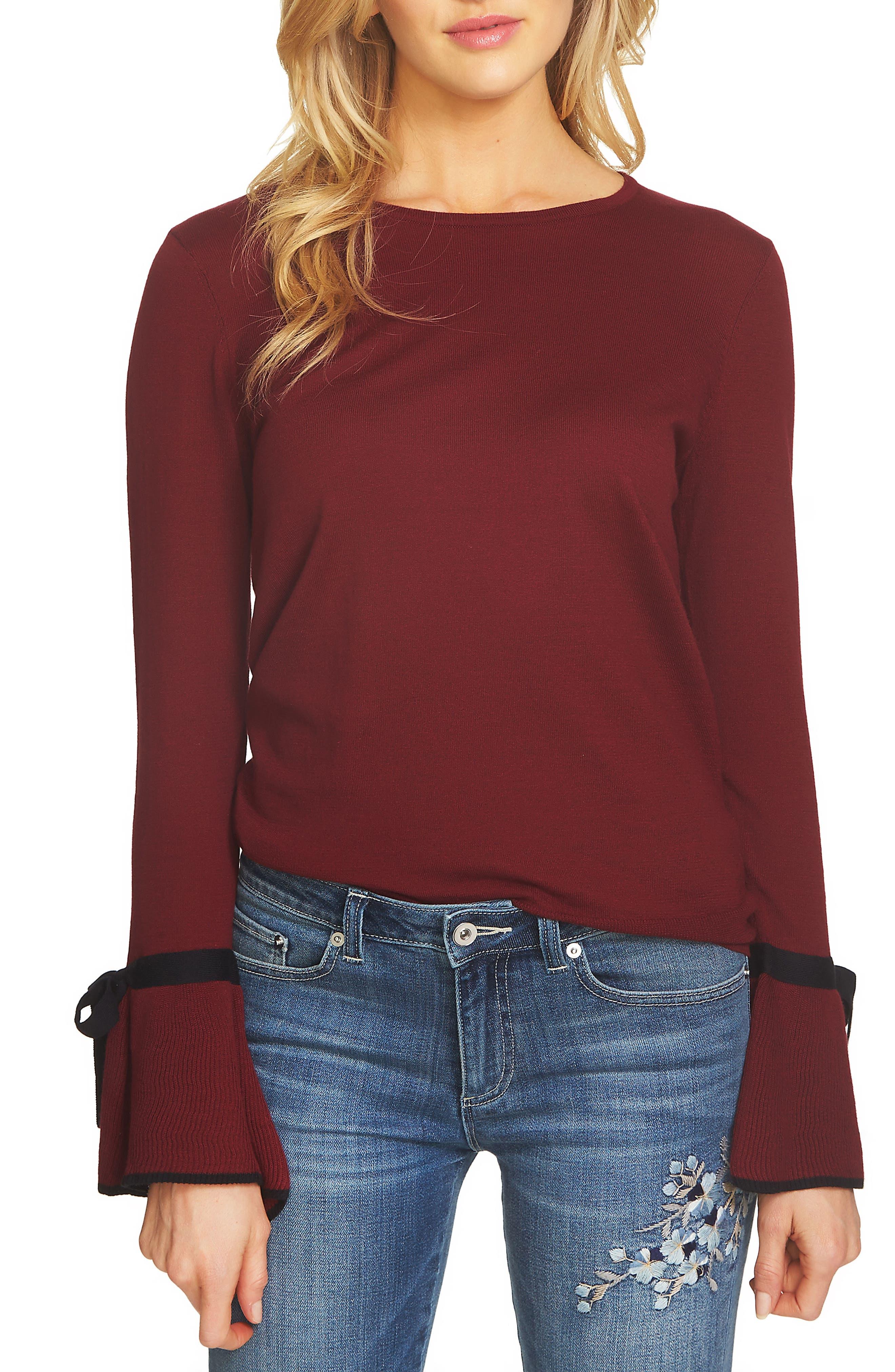 CeCe Bow Cuff Sweater