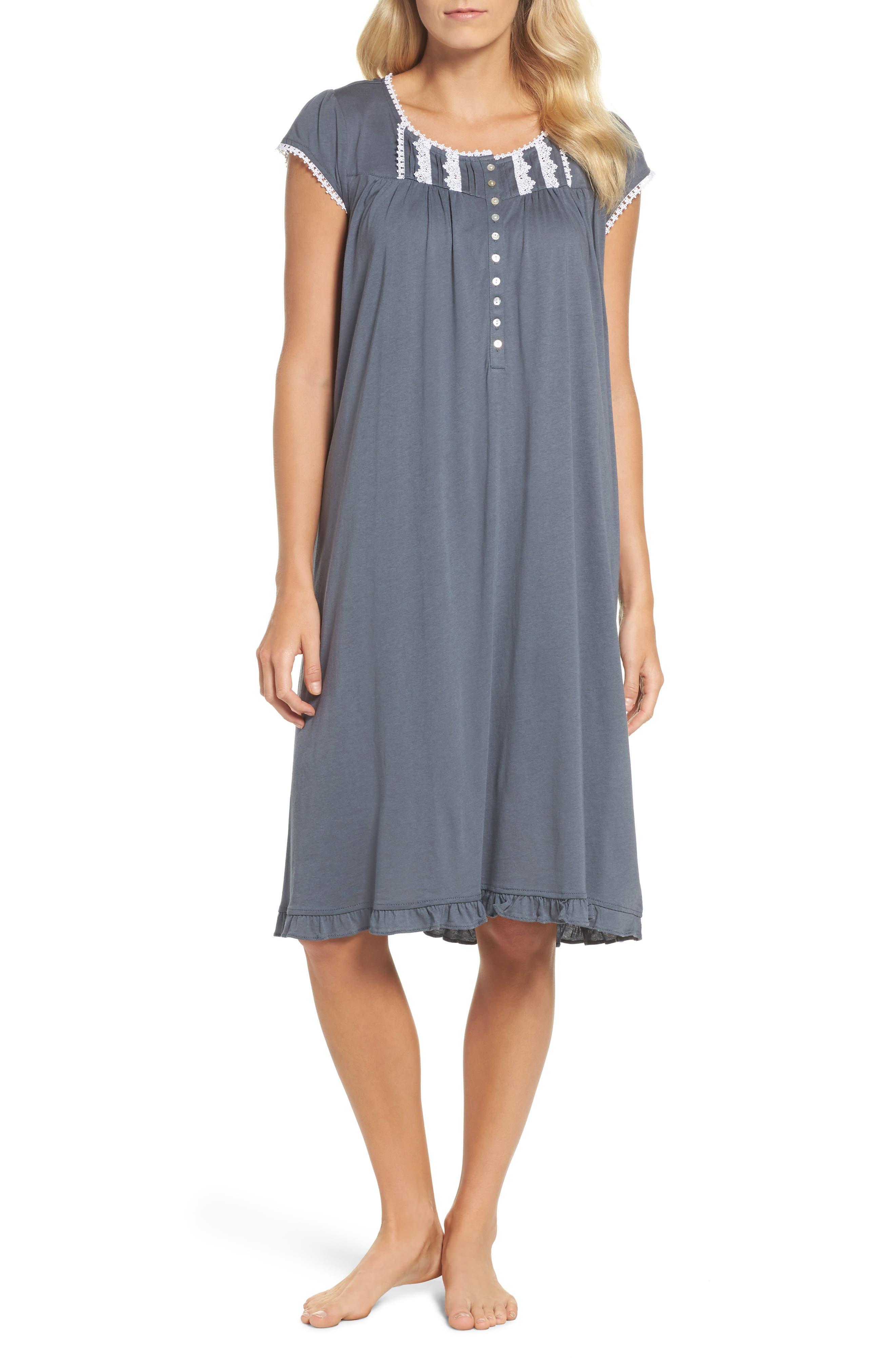 Cotton & Modal Waltz Nightgown,                         Main,                         color, Black